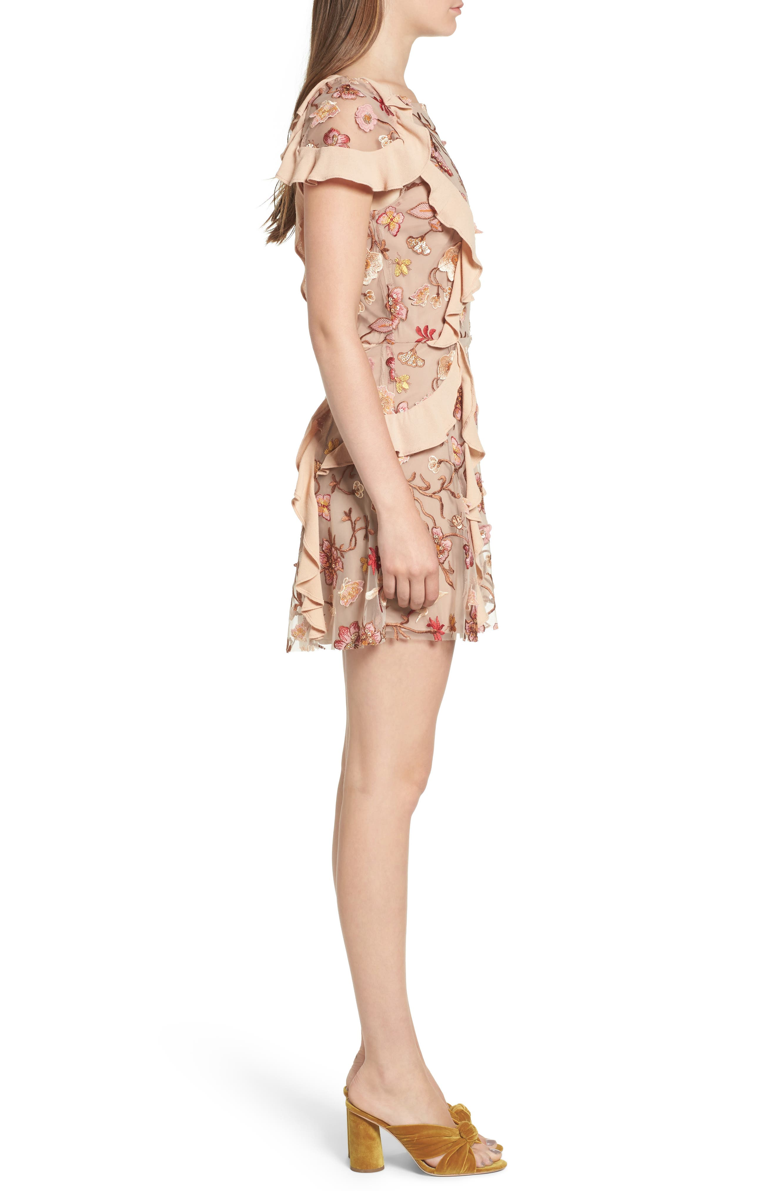 Botanical Embroidered Ruffle Minidress,                             Alternate thumbnail 3, color,                             Nude Floral
