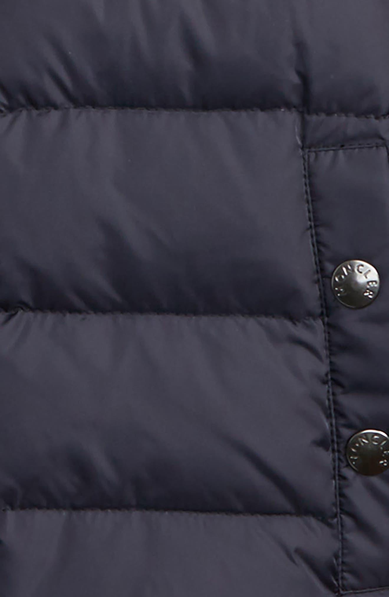Auberie Hooded Water Resistant Down Varsity Jacket,                             Alternate thumbnail 2, color,                             Navy