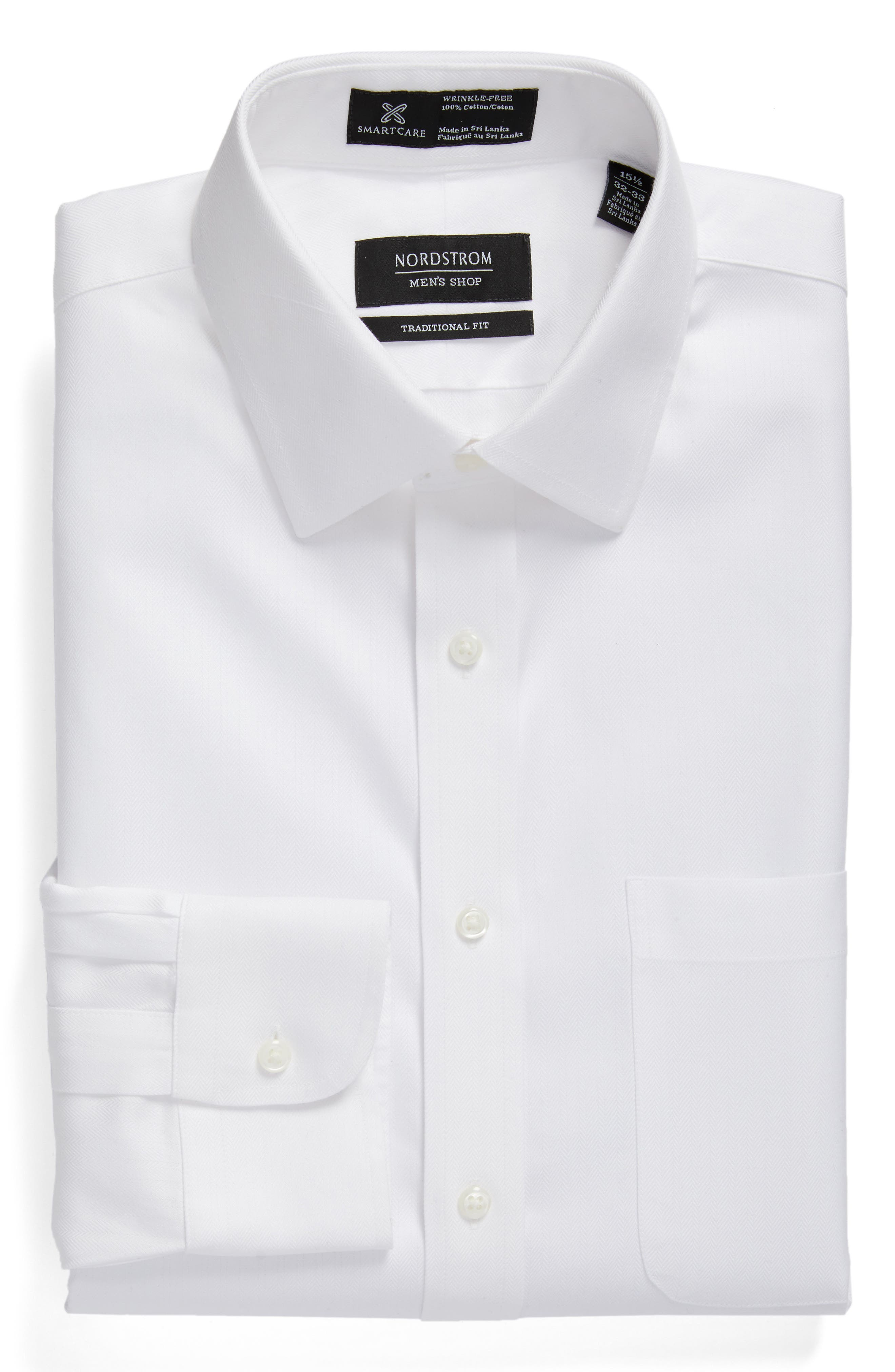 Smartcare<sup>™</sup> Traditional Fit Herringbone Dress Shirt,                             Alternate thumbnail 3, color,                             White