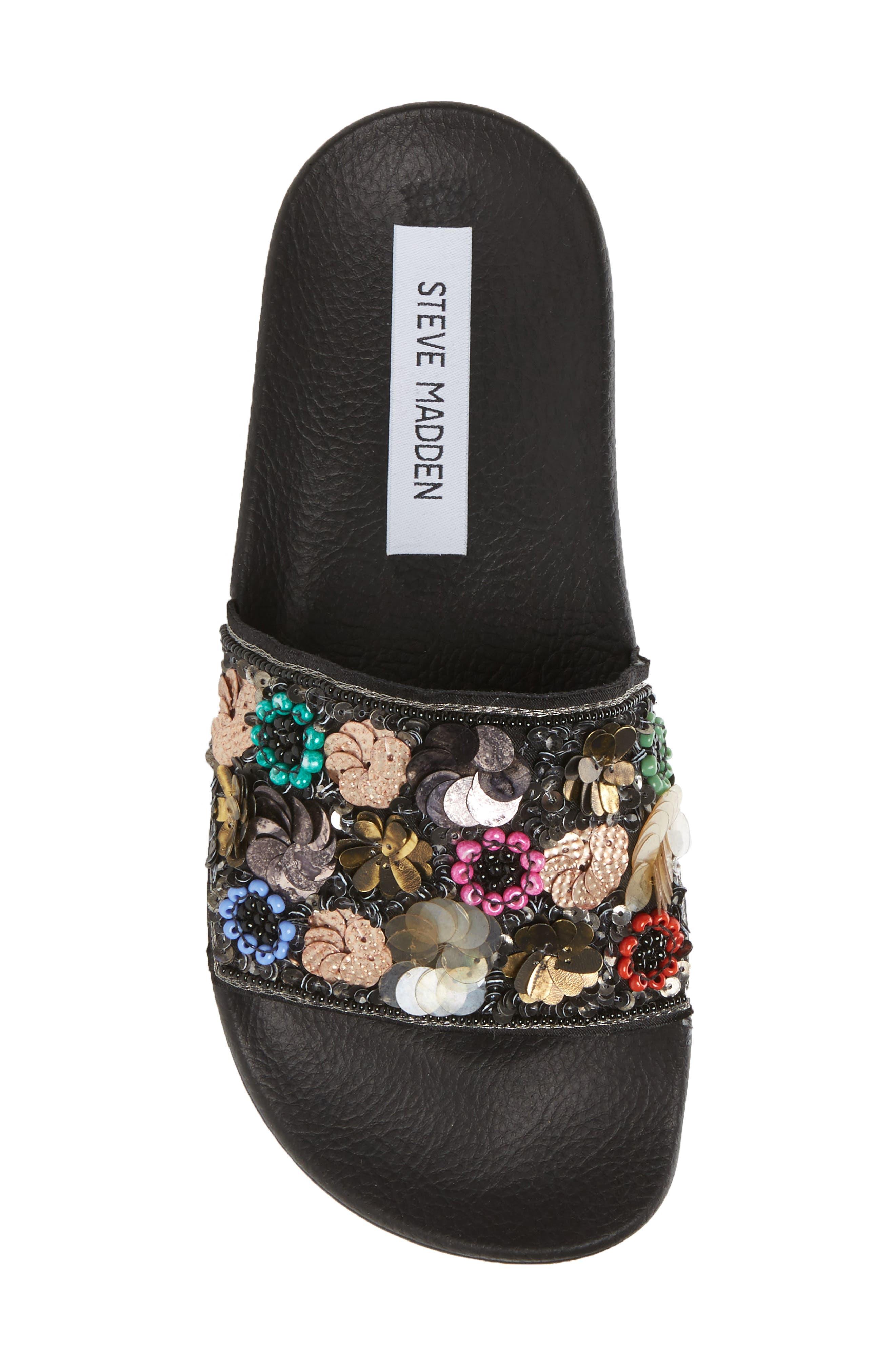 Maddy Embellished Slide Sandal,                             Alternate thumbnail 5, color,                             Flower Multi