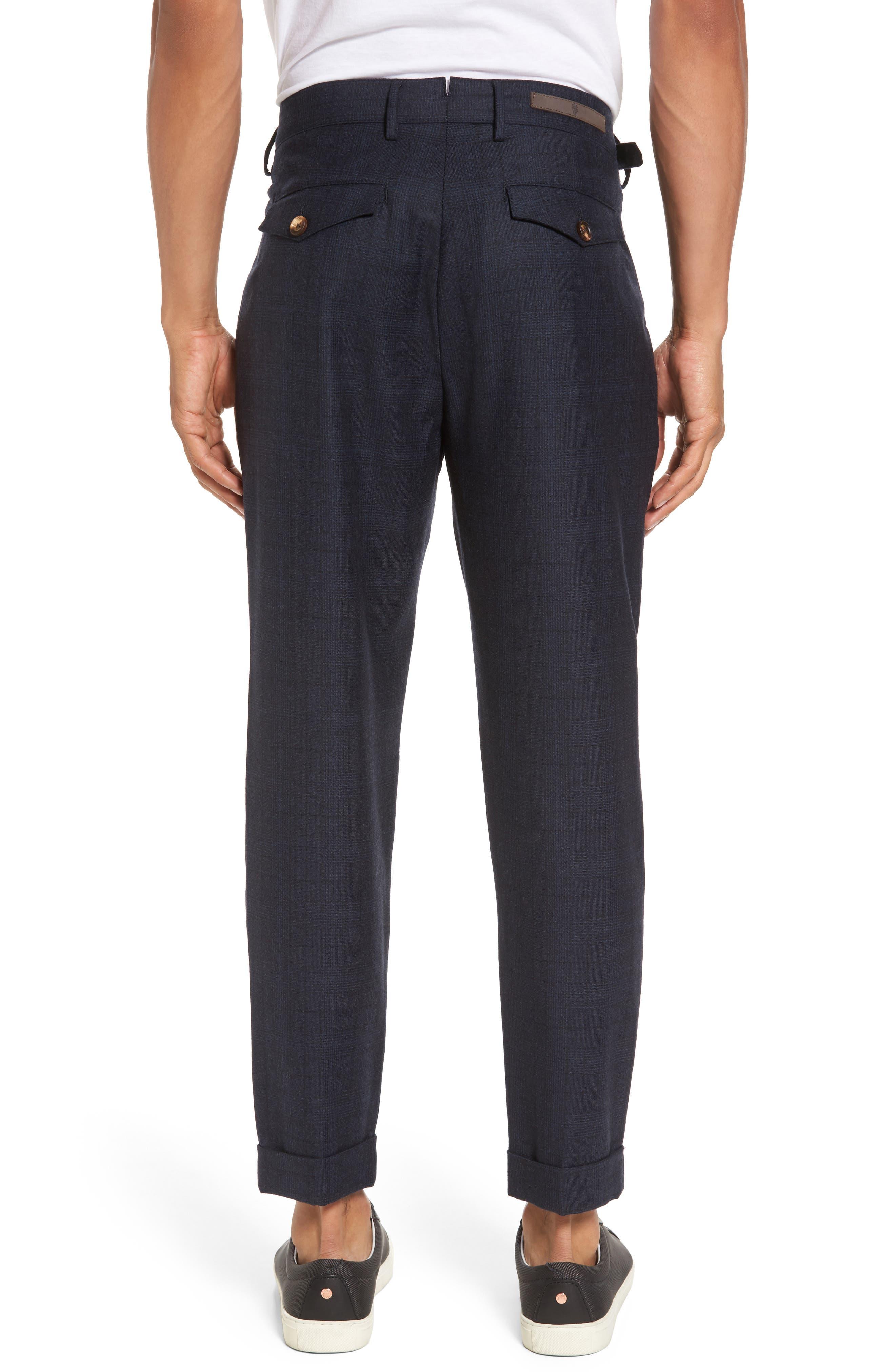Glen Plaid Pleat Front Wool Pants,                             Alternate thumbnail 2, color,                             Navy