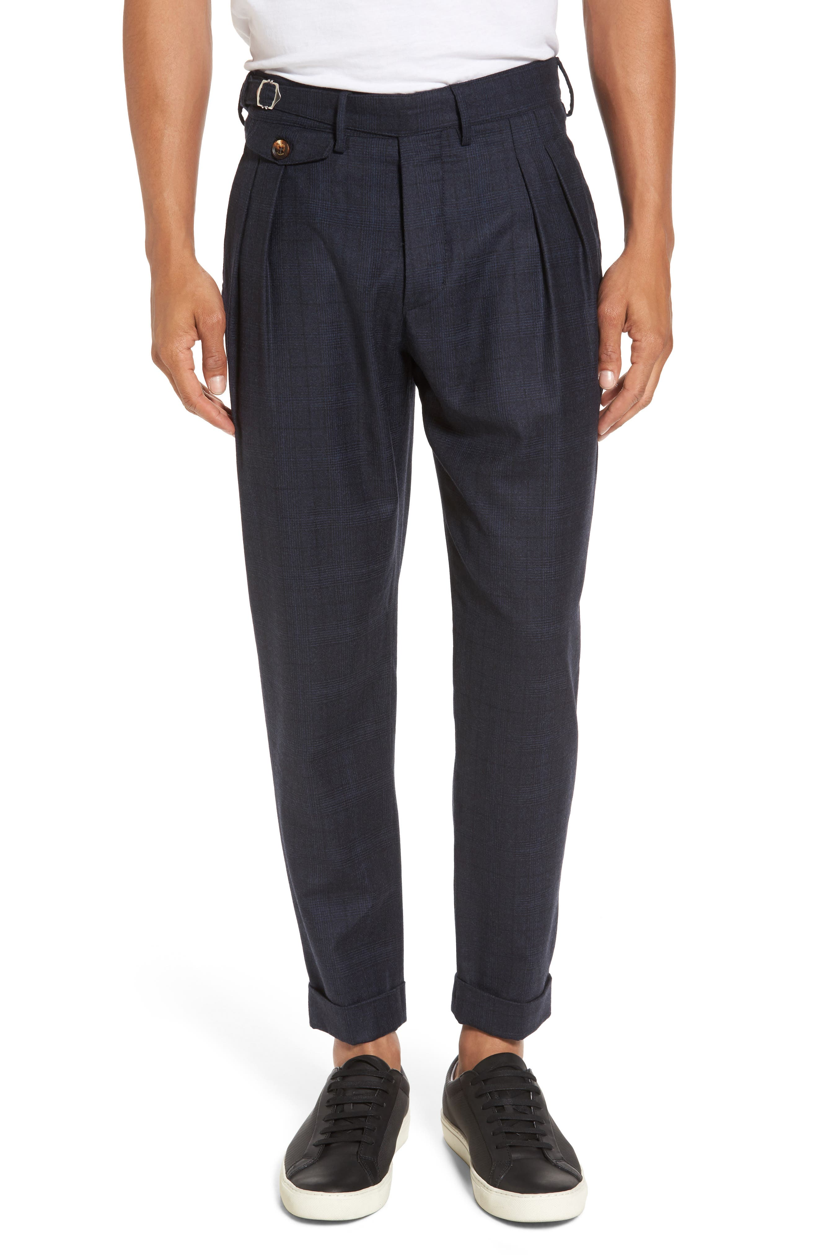 Glen Plaid Pleat Front Wool Pants,                             Main thumbnail 1, color,                             Navy