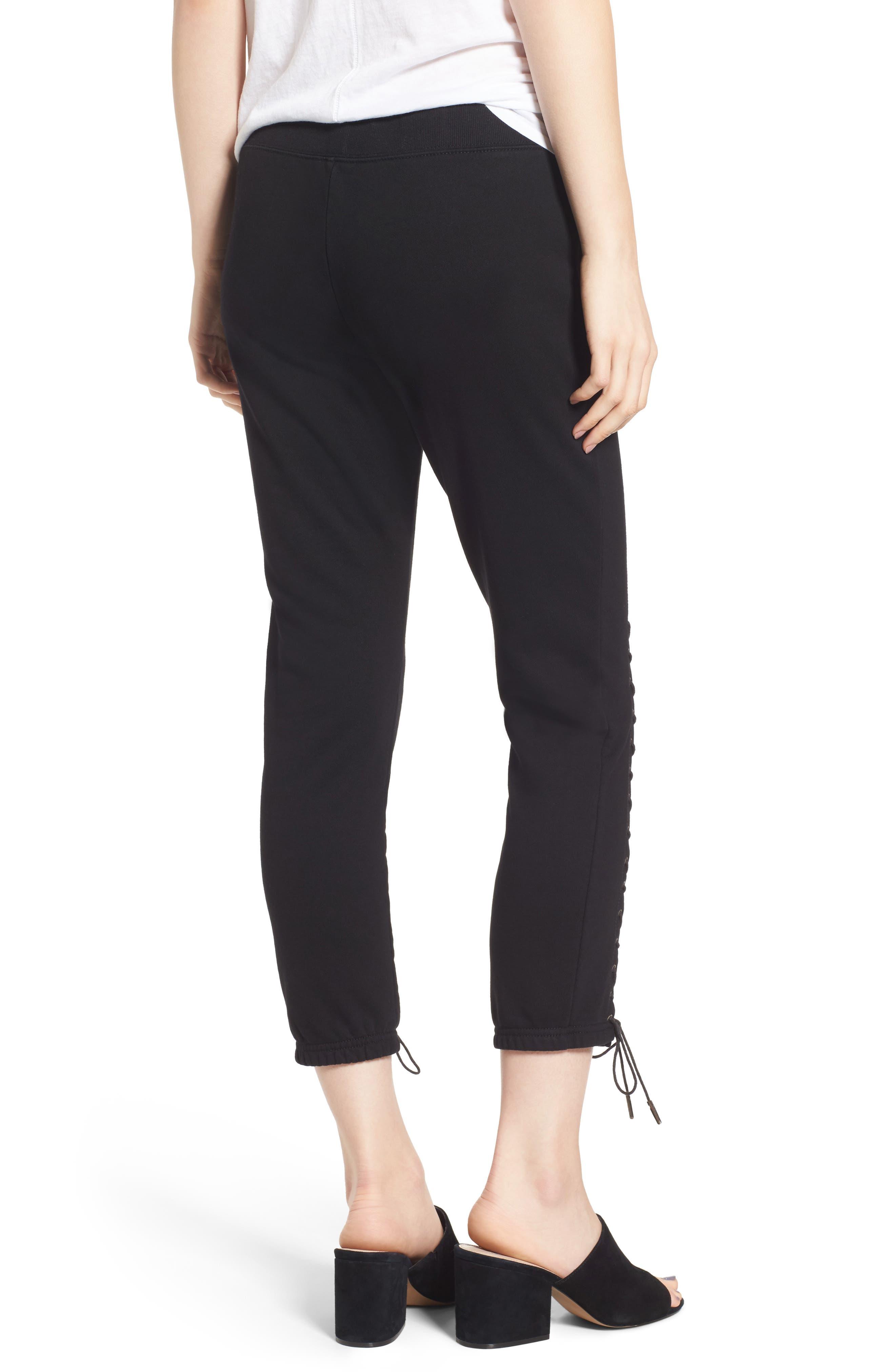 Lace-Up Crop Sweatpants,                             Alternate thumbnail 2, color,                             Black