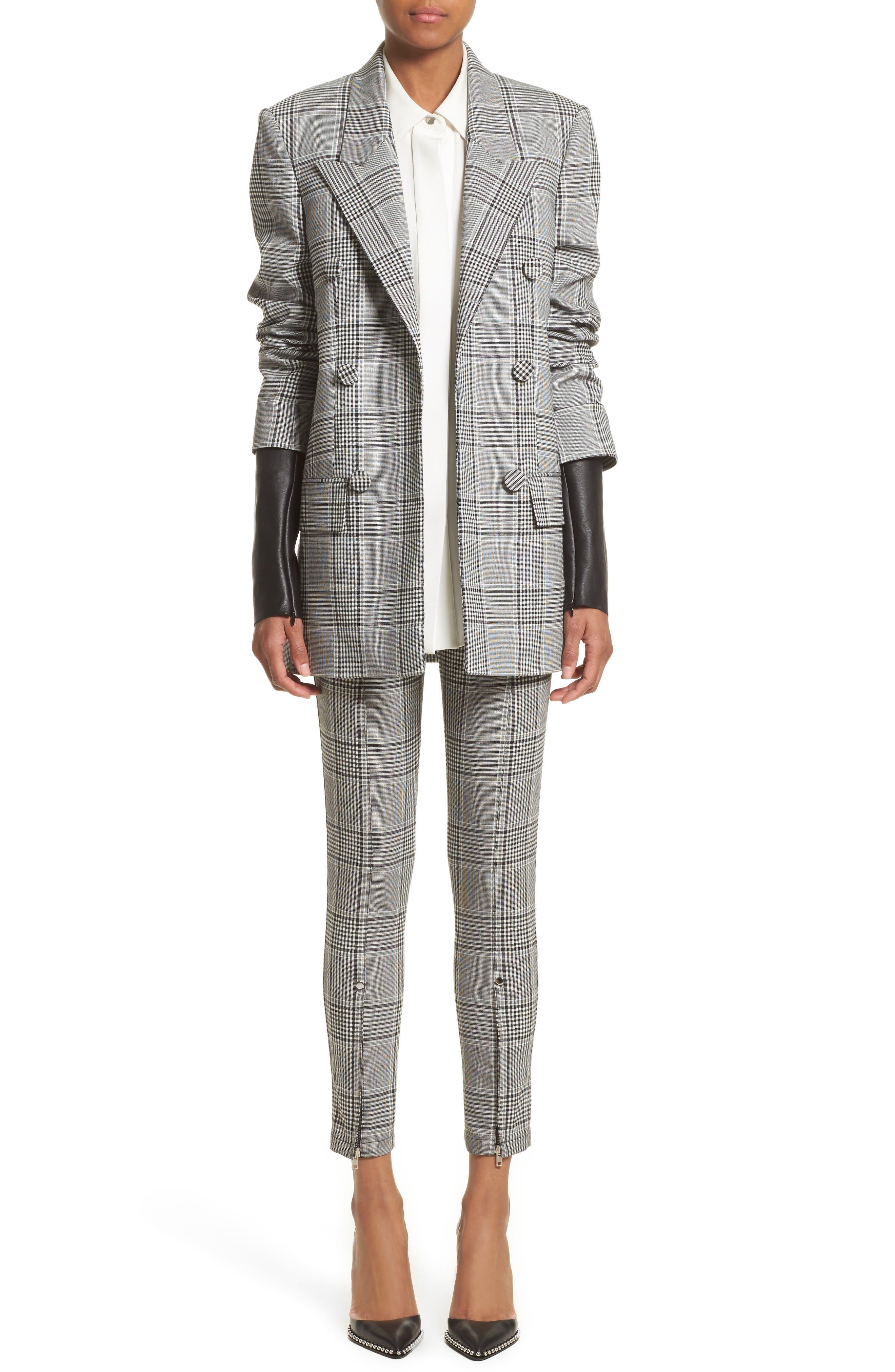 Leather Sleeve Check Blazer,                             Alternate thumbnail 8, color,                             Black/ White