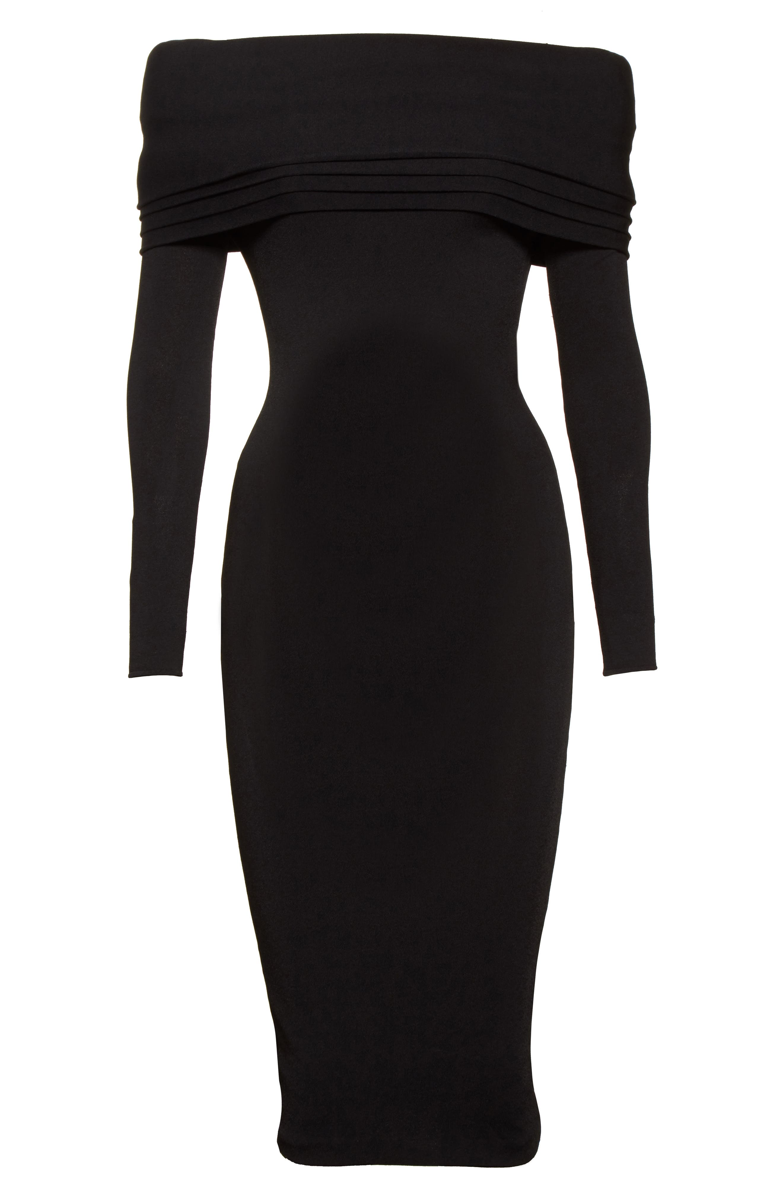 Layered Knit Off the Shoulder Dress,                             Alternate thumbnail 6, color,                             Black
