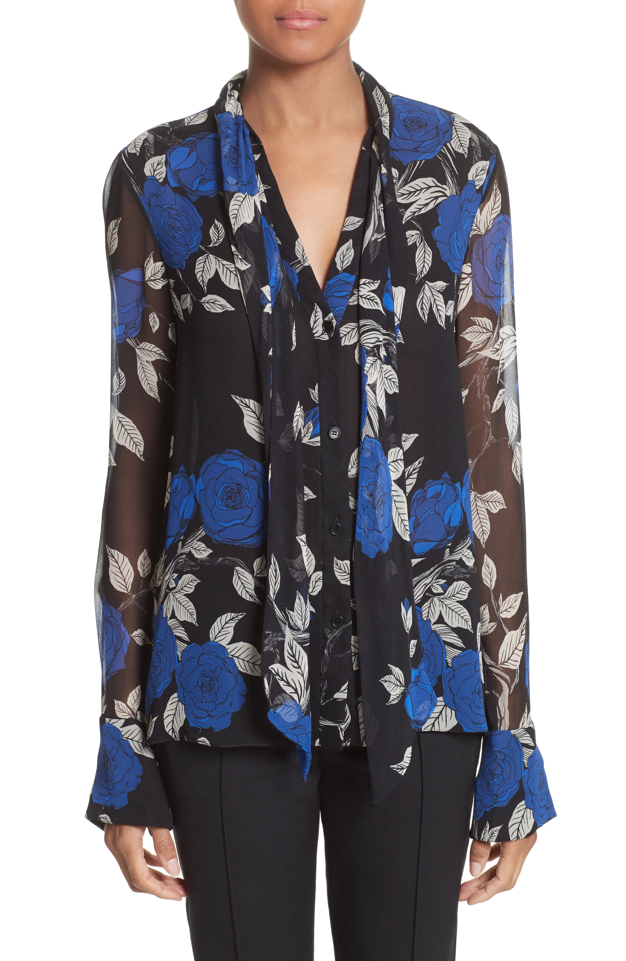 Floral Silk Tie Neck Blouse,                         Main,                         color, Black Multi