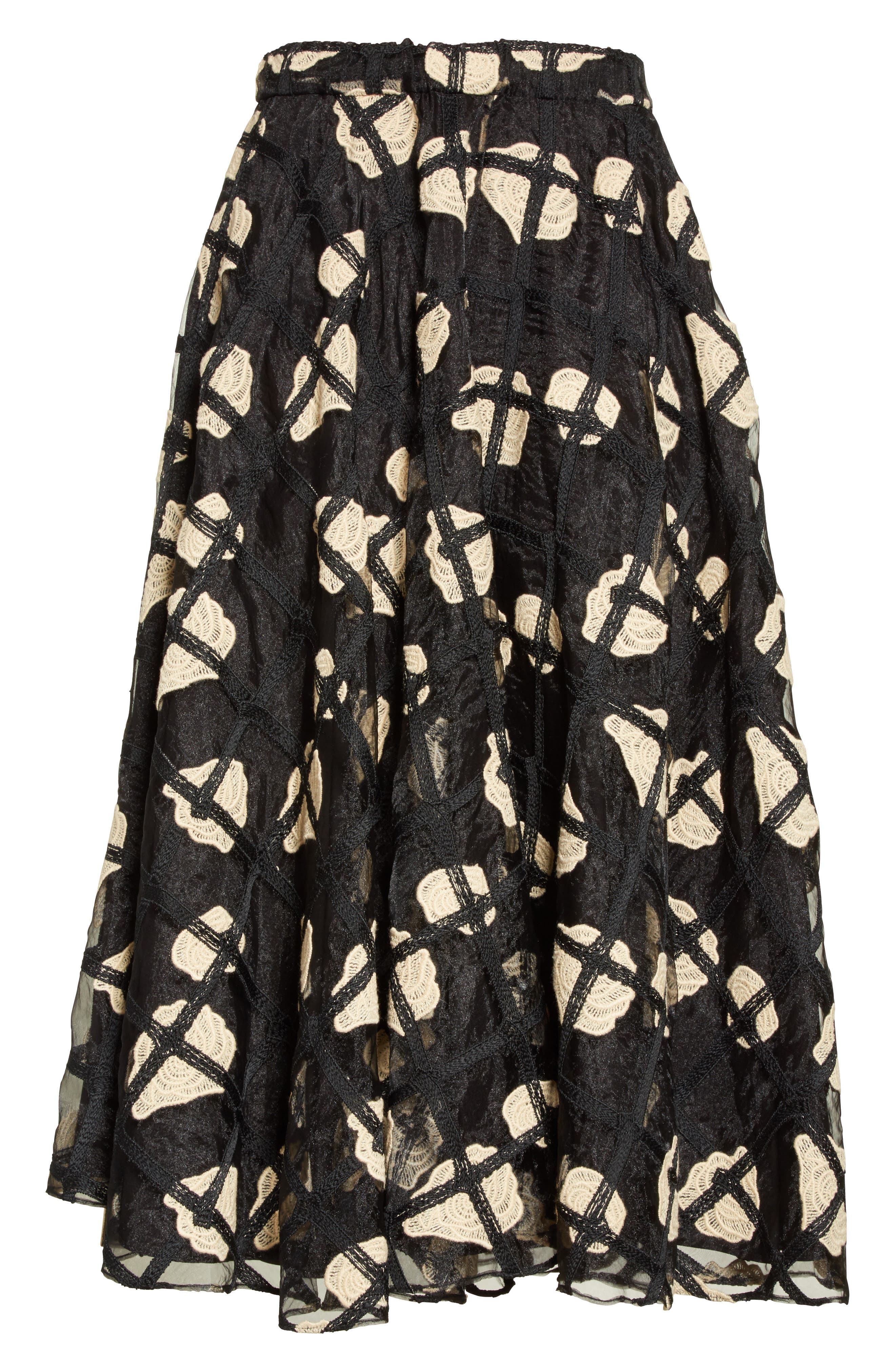 Floral Cage Lace Midi Skirt,                             Alternate thumbnail 5, color,                             Black