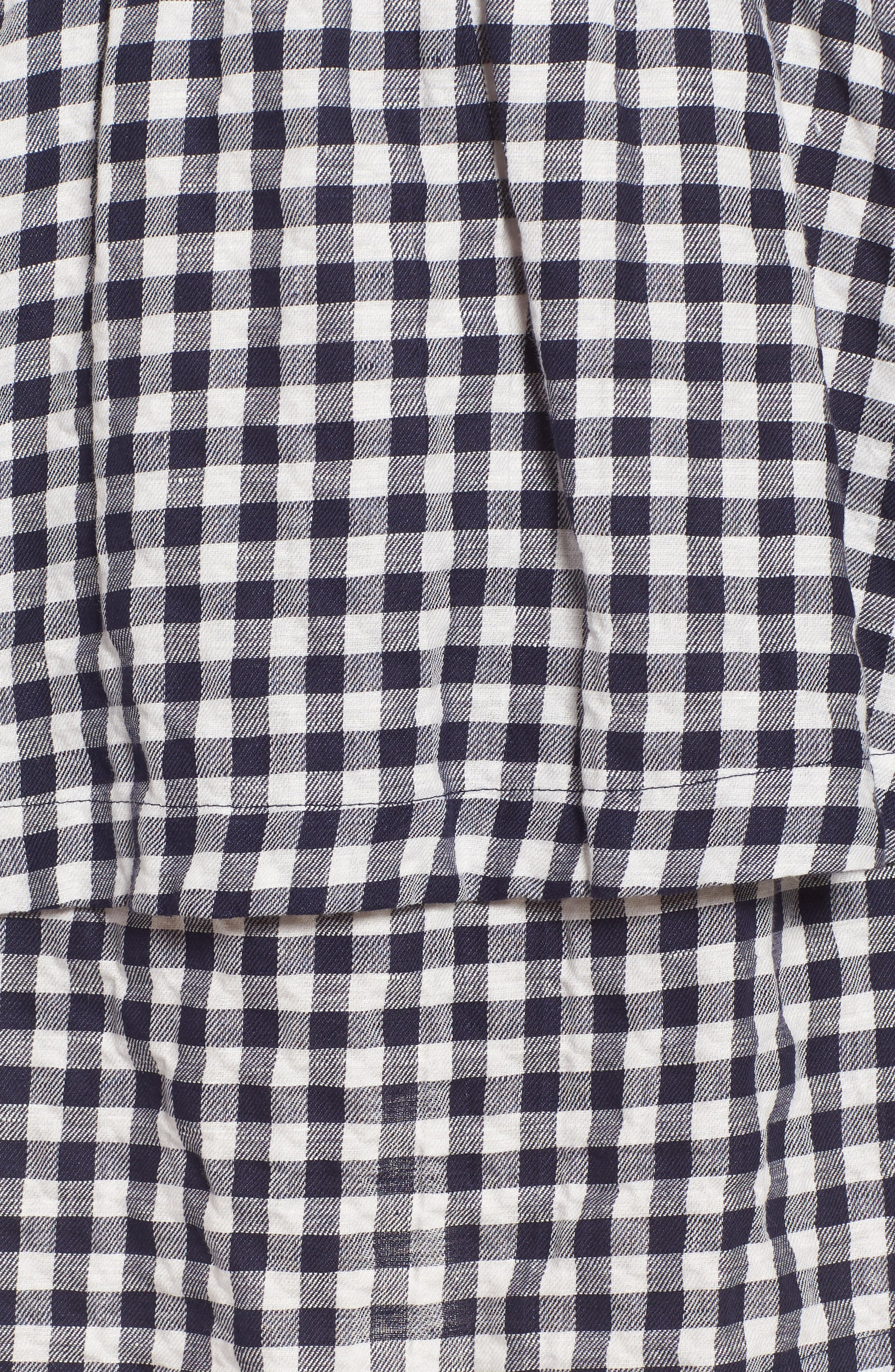 Gingham Tiered Miniskirt,                             Alternate thumbnail 5, color,                             Deep Navy