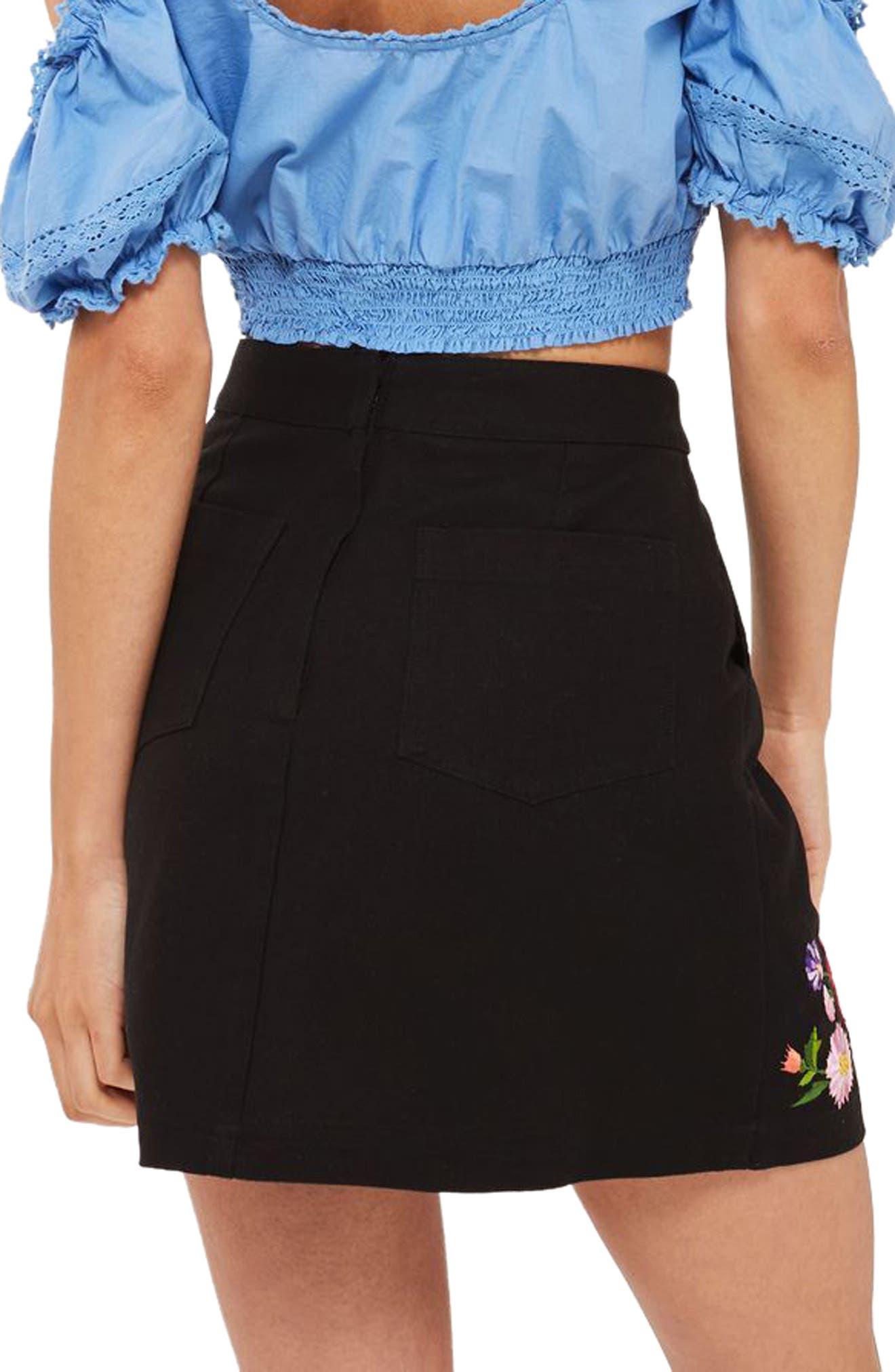 Garden Embroidered Miniskirt,                             Alternate thumbnail 2, color,                             Black Multi