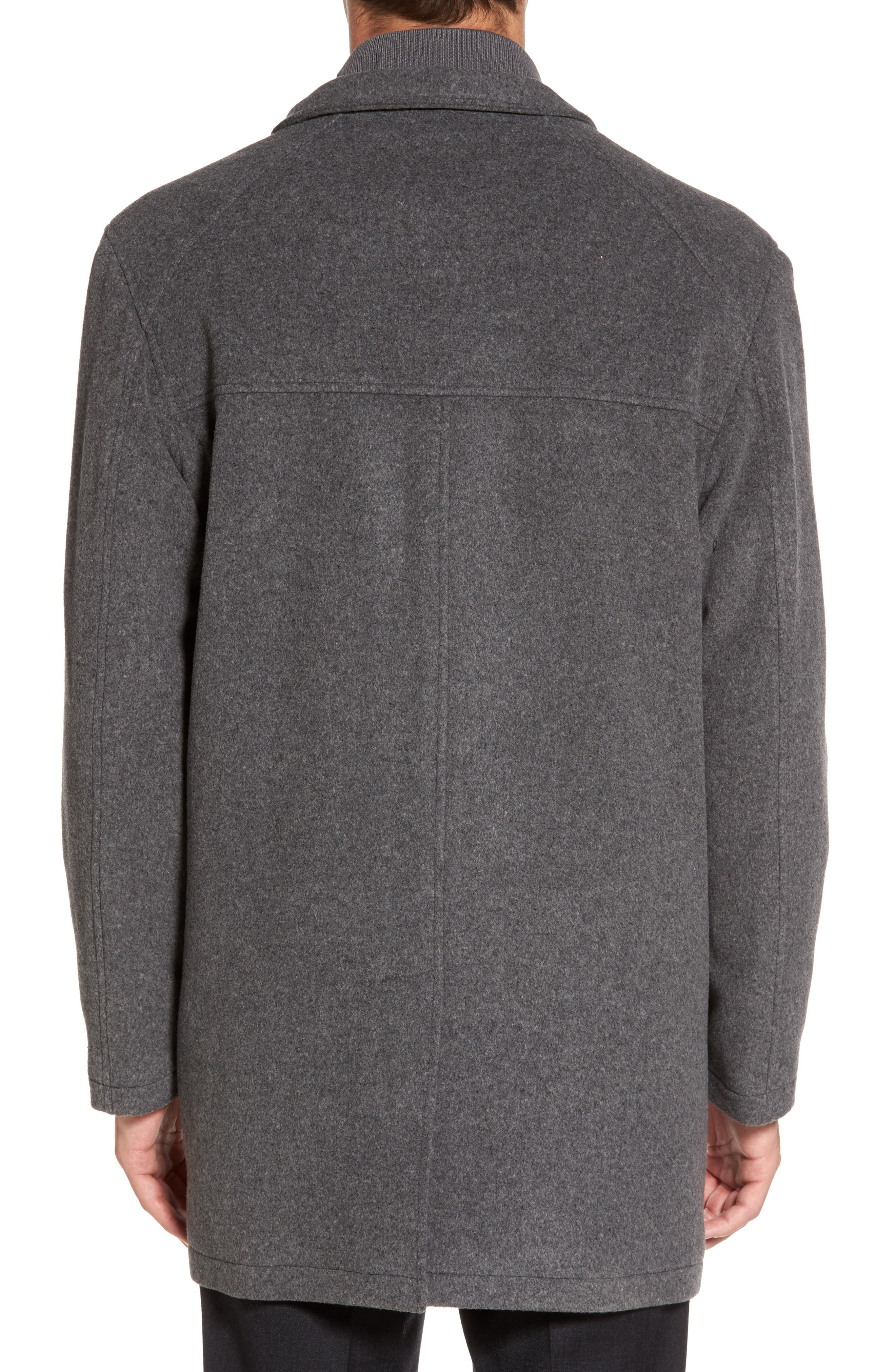 Wool Blend Topcoat with Inset Bib,                             Alternate thumbnail 2, color,                             Light Grey
