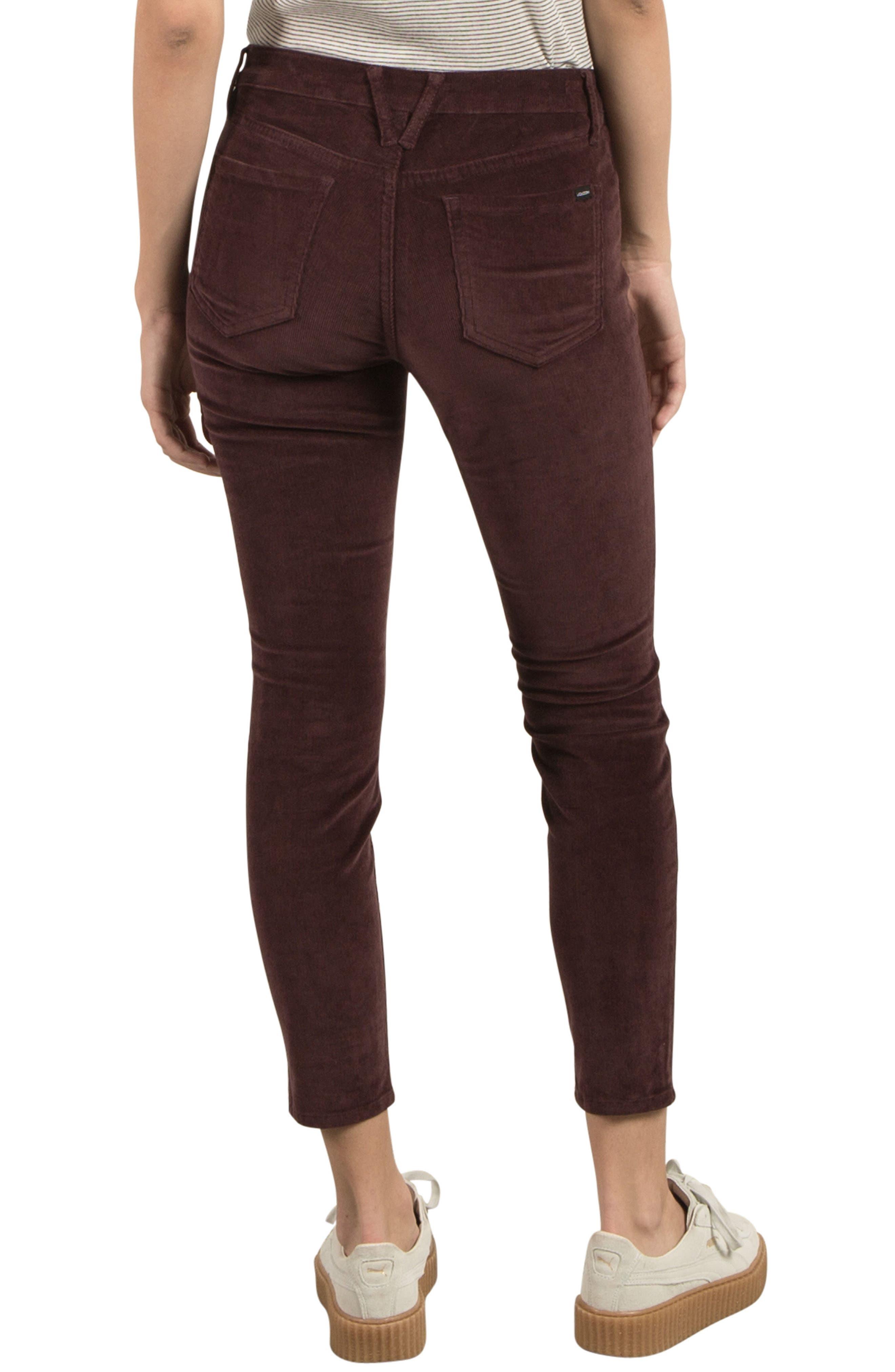 Corduroy Ankle Skinny Jeans,                             Alternate thumbnail 2, color,                             Plum