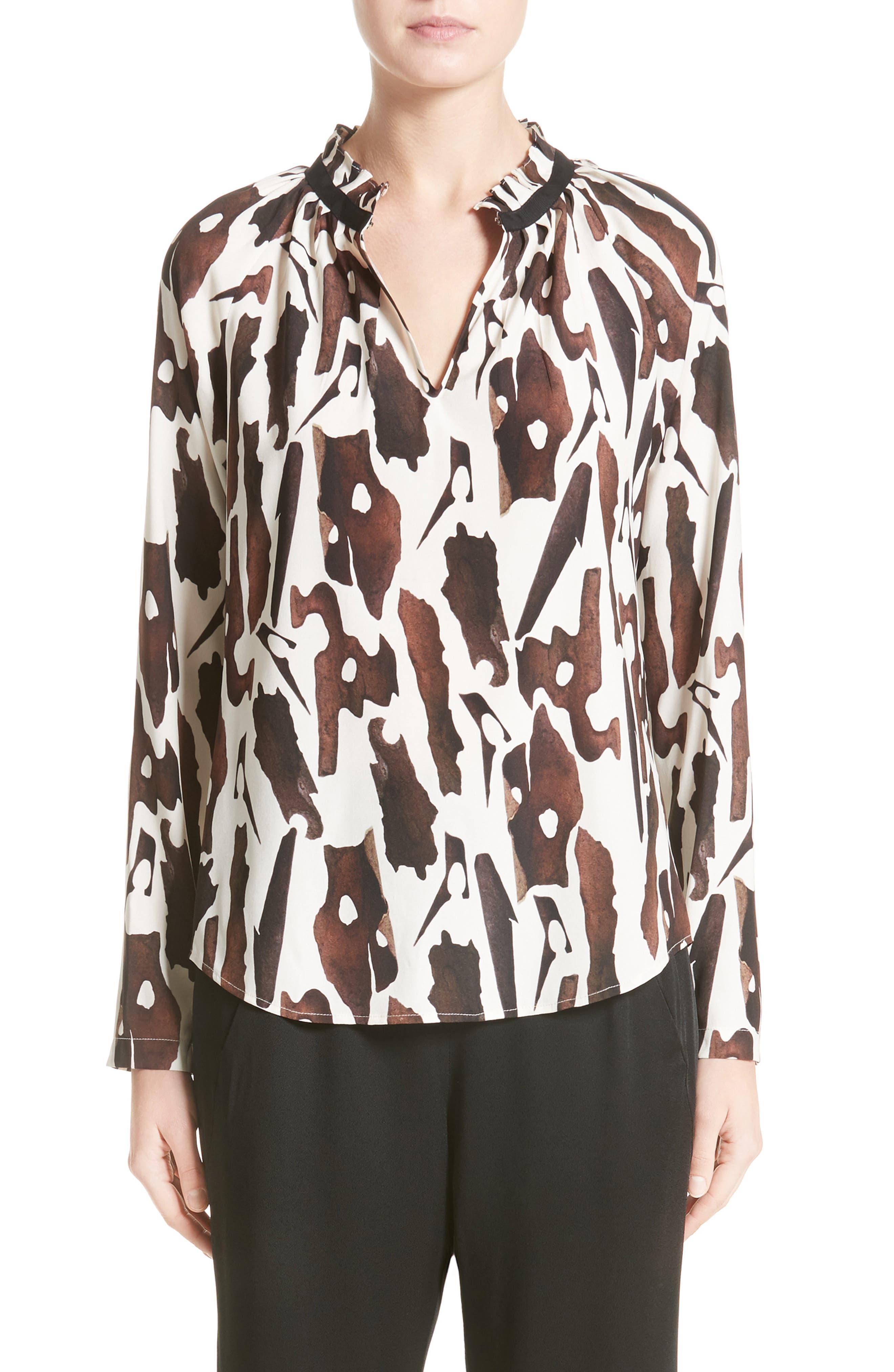 Zero + Maria Cornejo Quinn Bark Chips Print Charmeuse Shirt