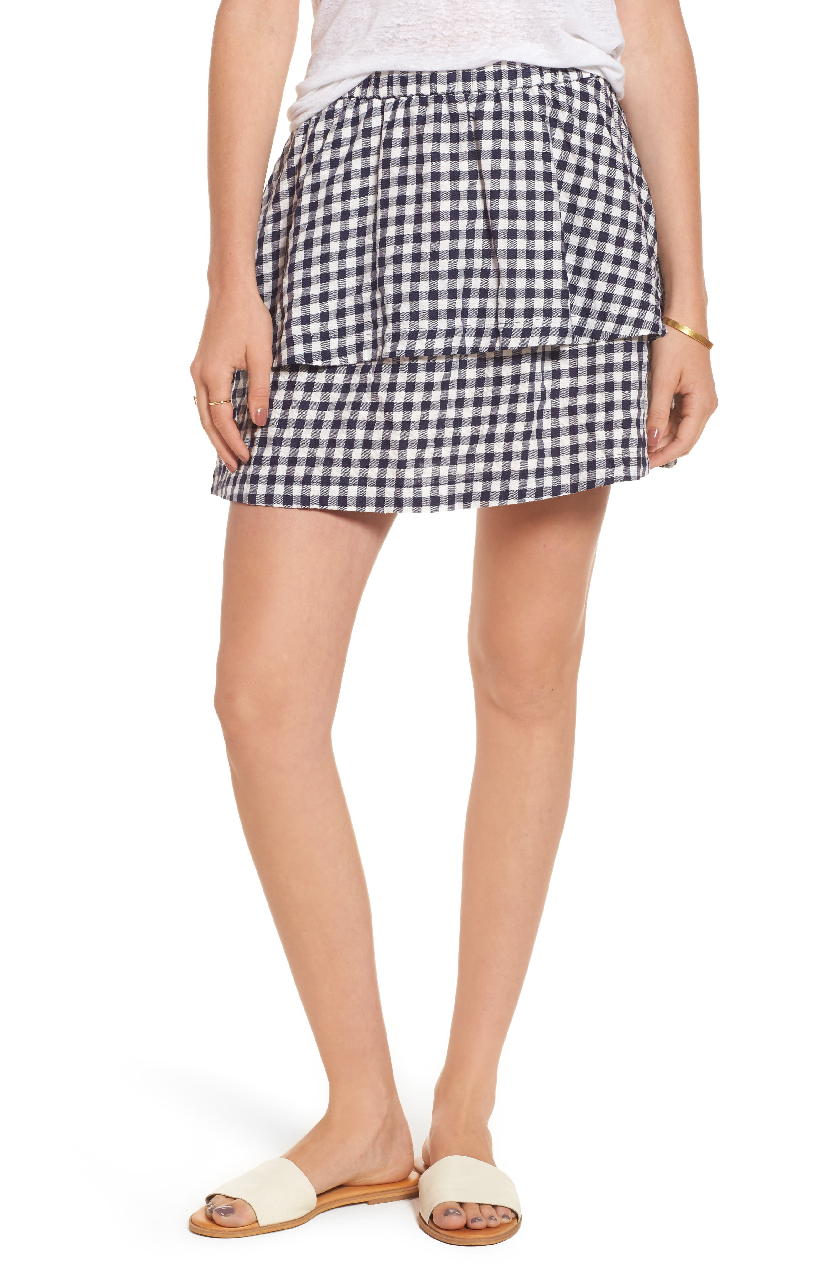 Gingham Tiered Miniskirt,                             Main thumbnail 1, color,                             Deep Navy