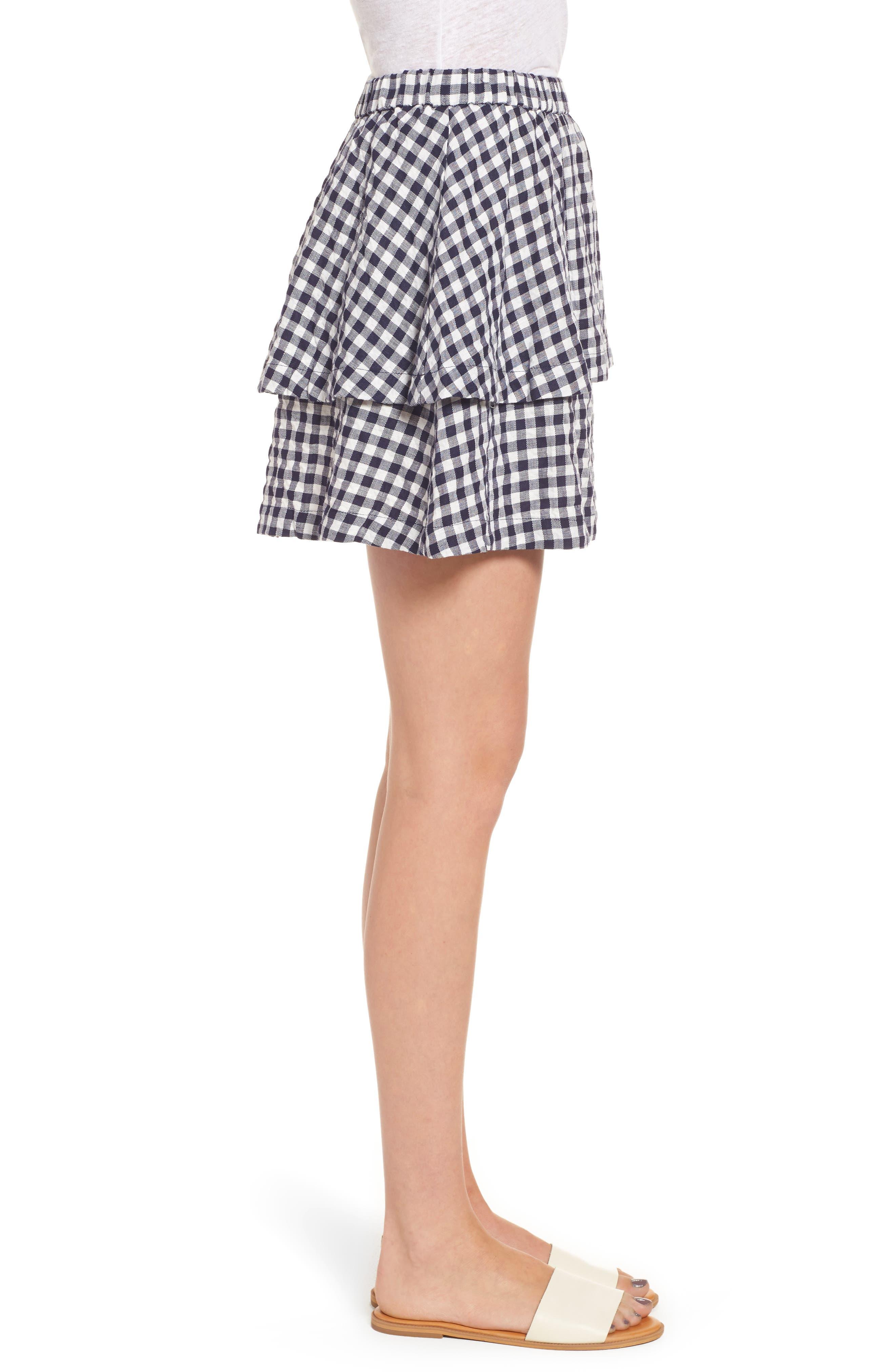 Gingham Tiered Miniskirt,                             Alternate thumbnail 3, color,                             Deep Navy