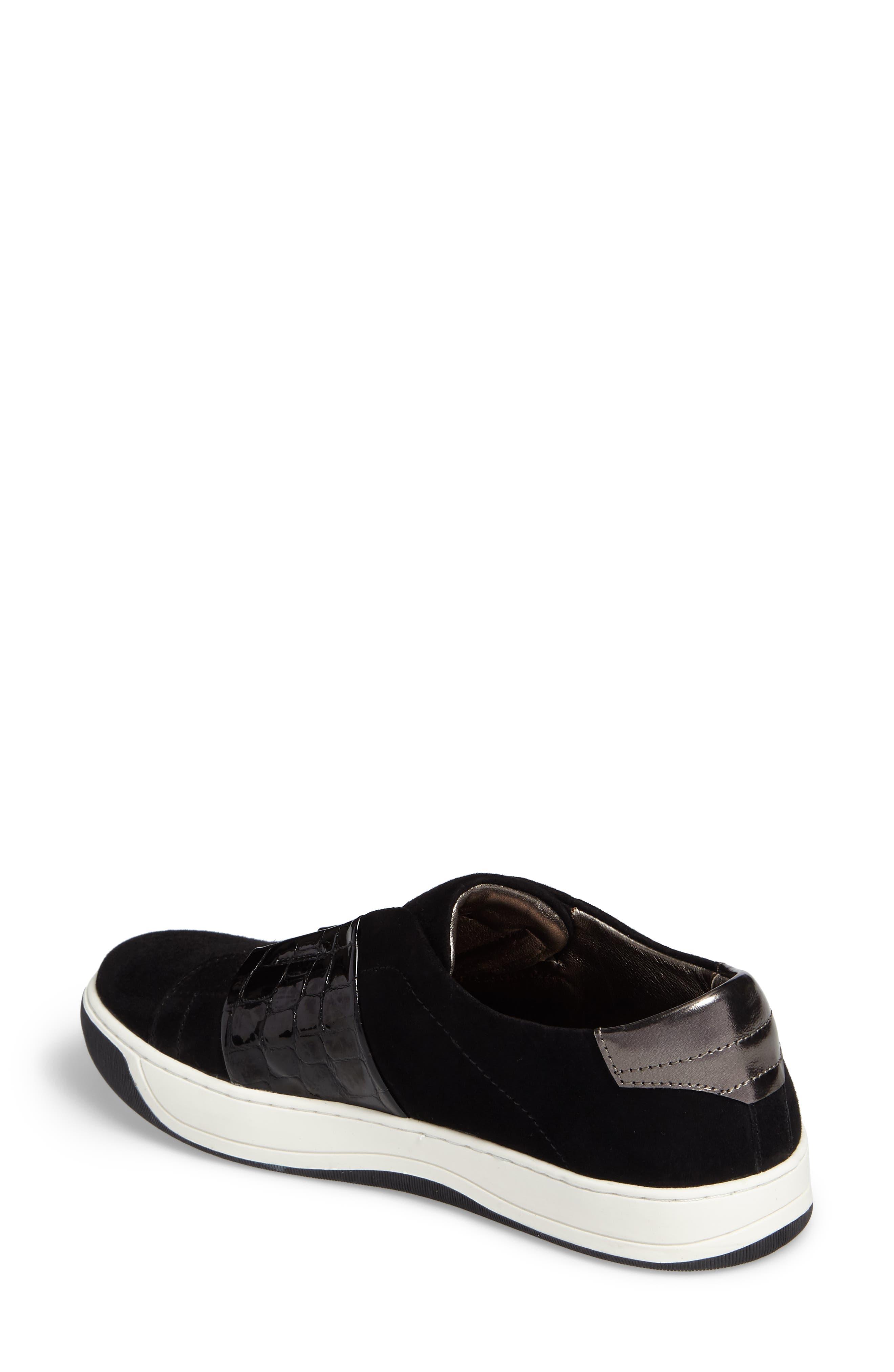 Eden Slip-On Sneaker,                             Alternate thumbnail 2, color,                             Black Suede