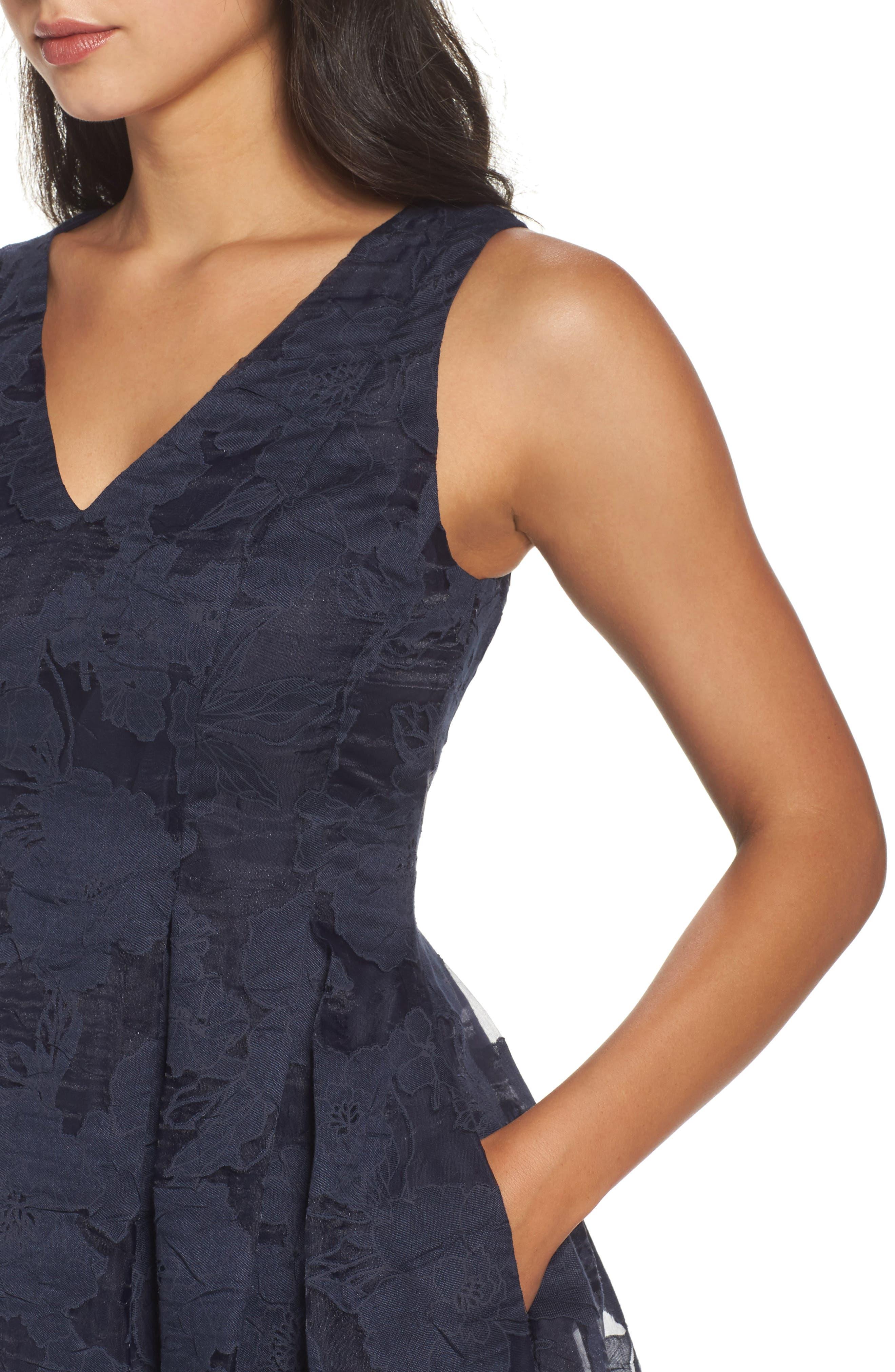 Lace Fit & Flare Dress,                             Alternate thumbnail 5, color,                             Navy/ Black