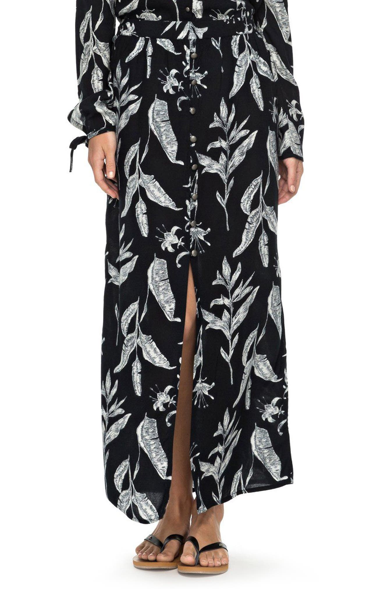 Speed of Sound Print Maxi Skirt,                         Main,                         color, Anthracite Love