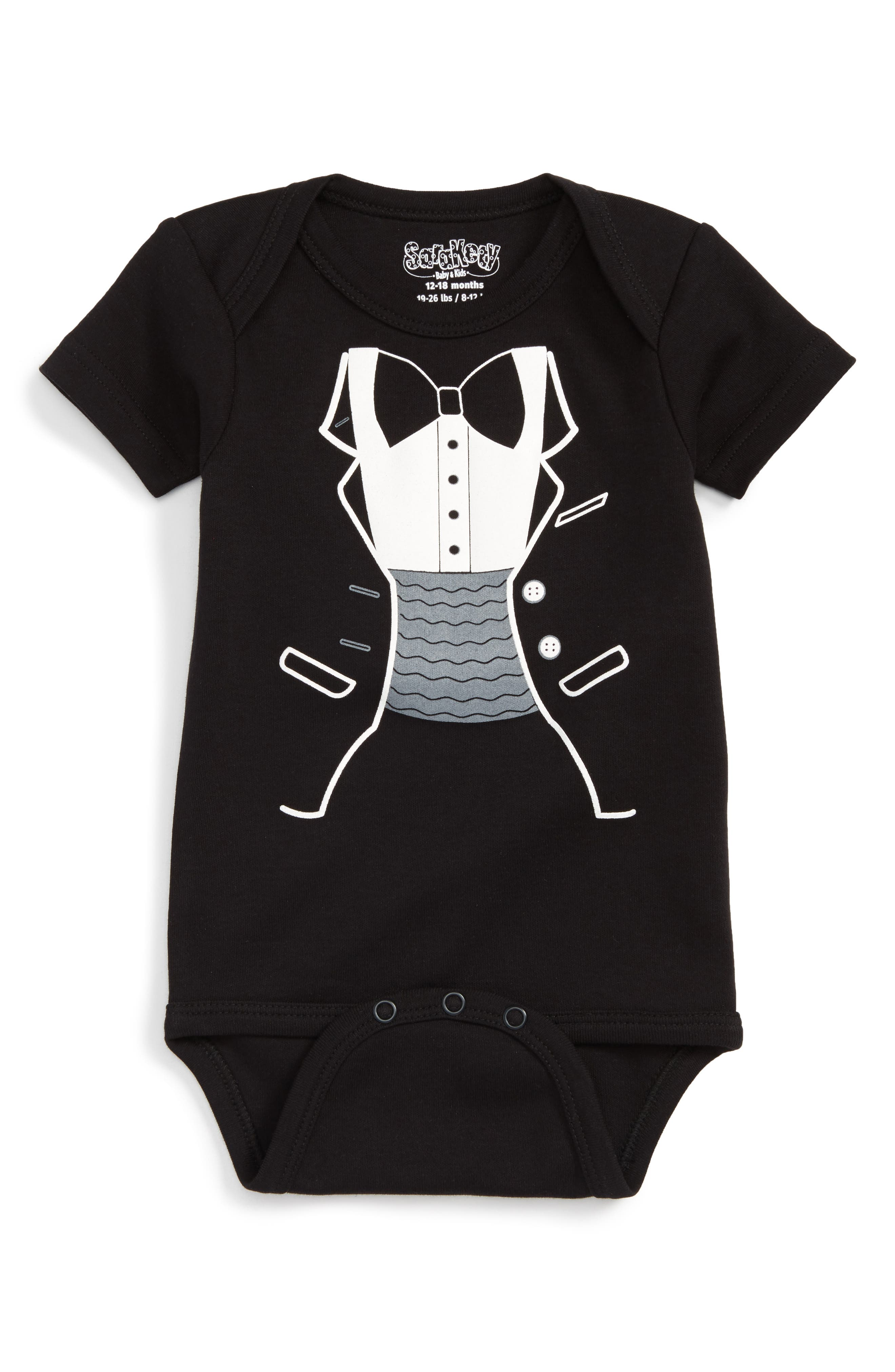 Alternate Image 1 Selected - Sara Kety Baby & Kids Tuxedo Print Bodysuit (Baby Boys)