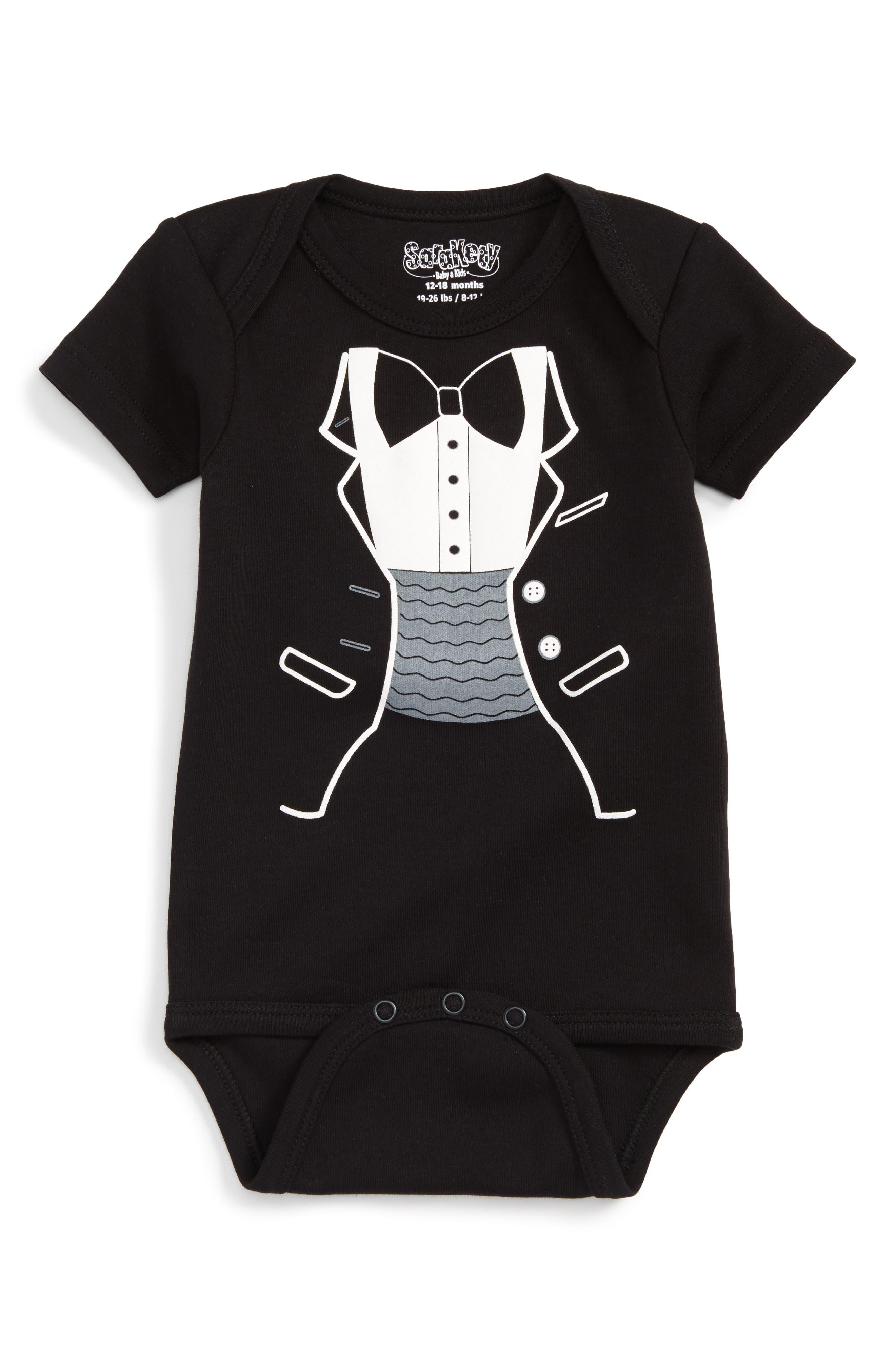 Tuxedo Print Bodysuit,                         Main,                         color, Black/ White