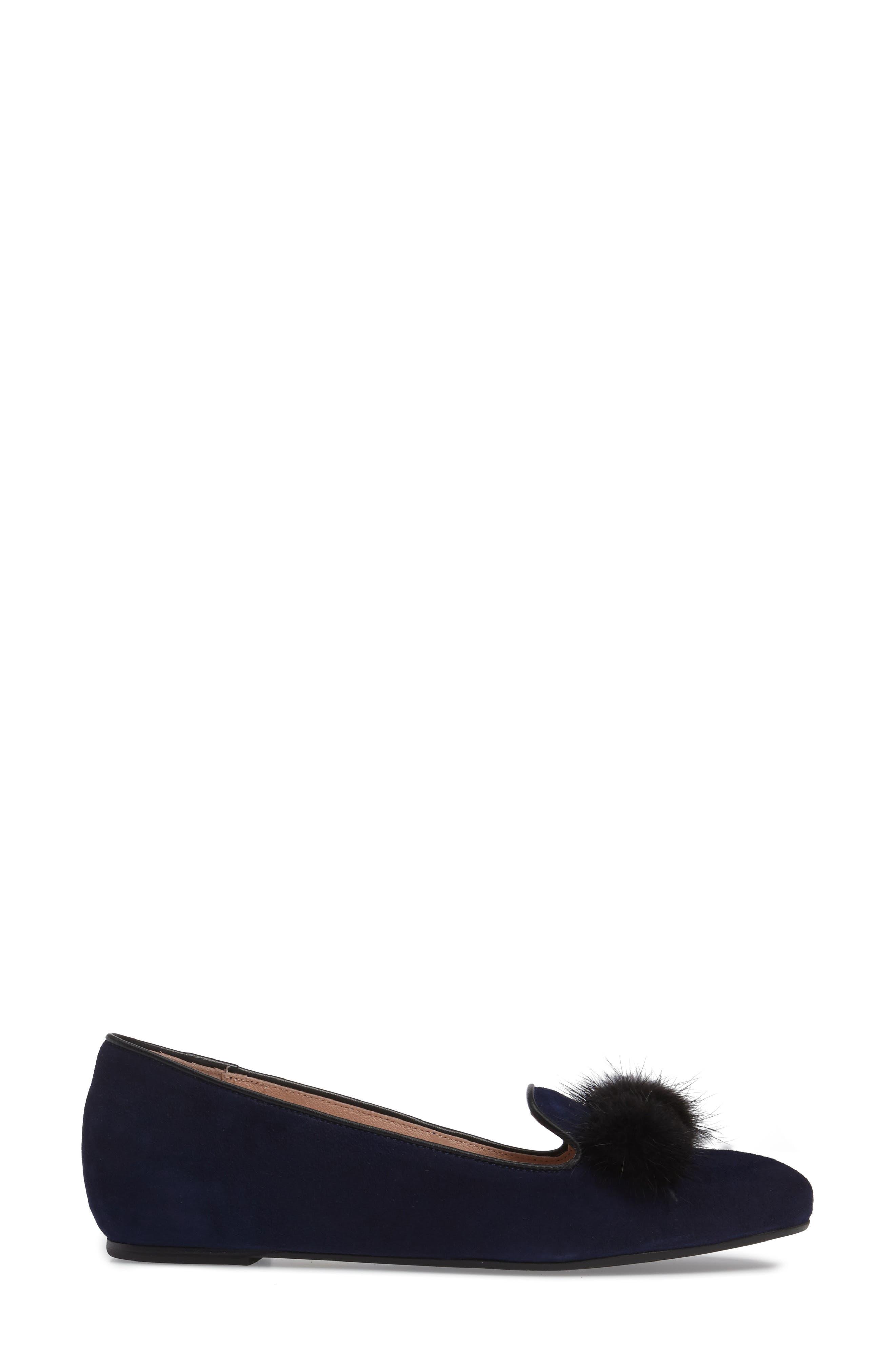 Wallis Genuine Fur Pompom Loafer,                             Alternate thumbnail 3, color,                             Navy Suede
