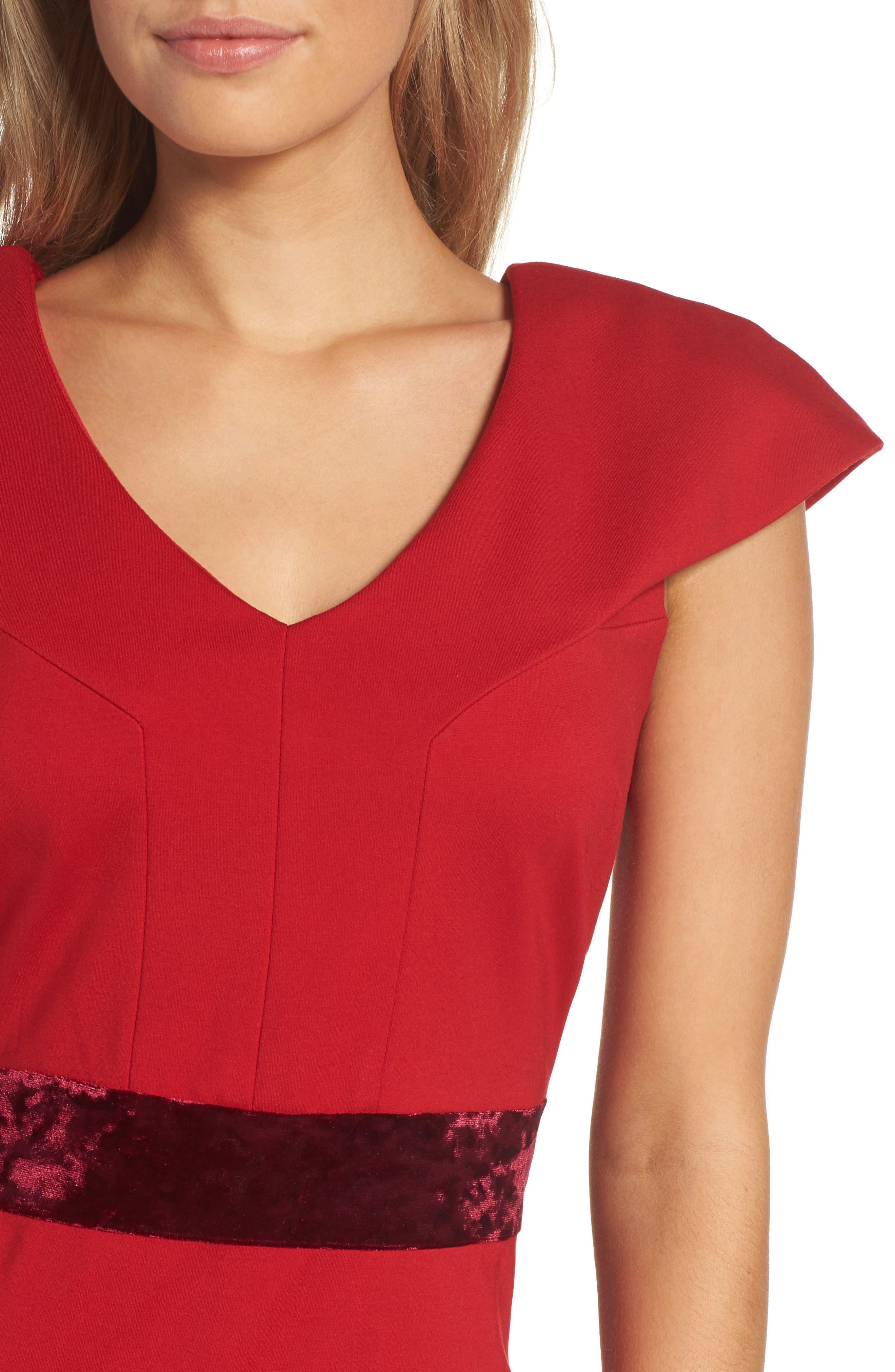 Velvet Trim Crepe Sheath Dress,                             Alternate thumbnail 4, color,                             Scarlet