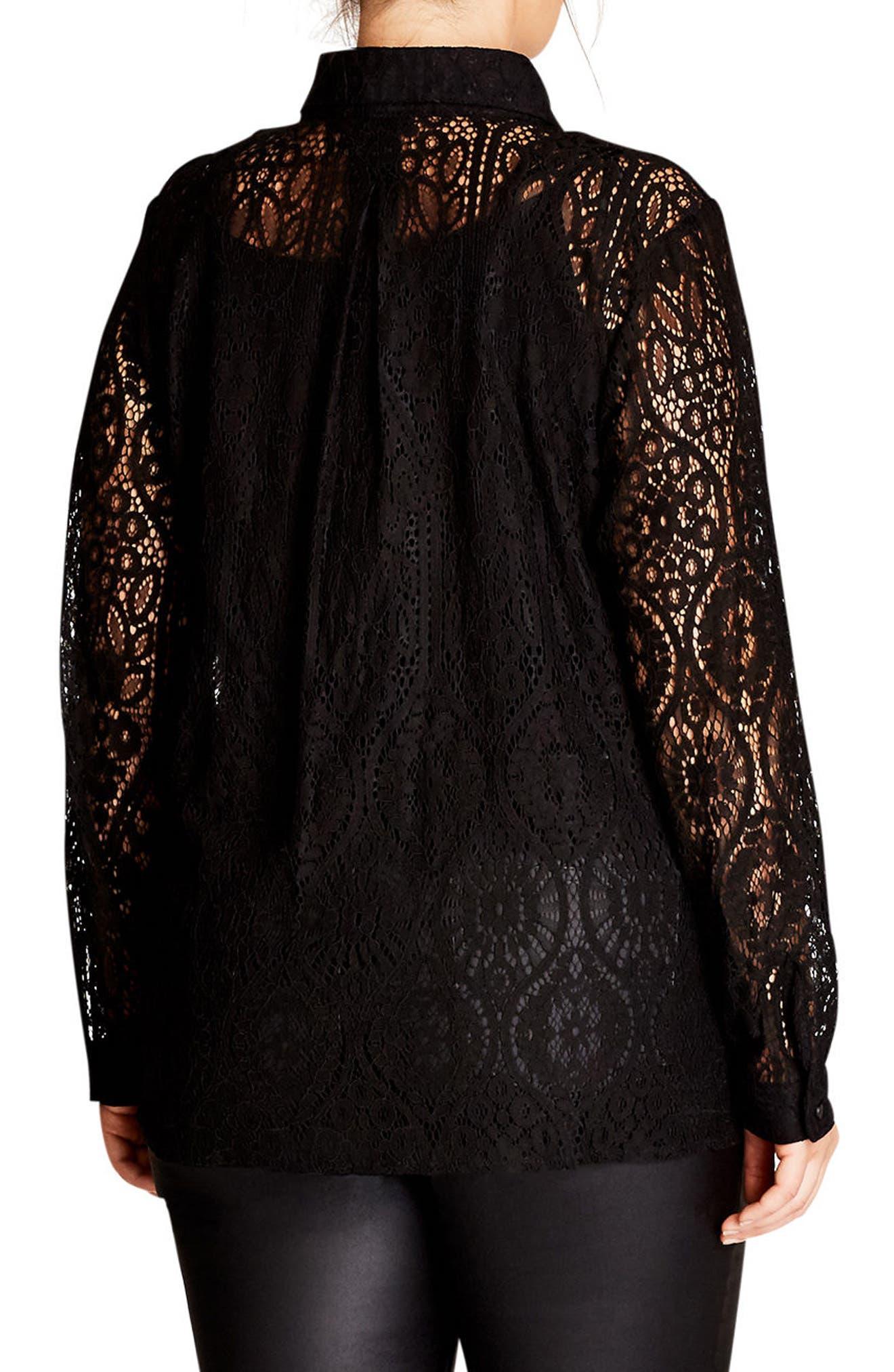 Alternate Image 2  - City Chic Lace Shirt (Plus Size)