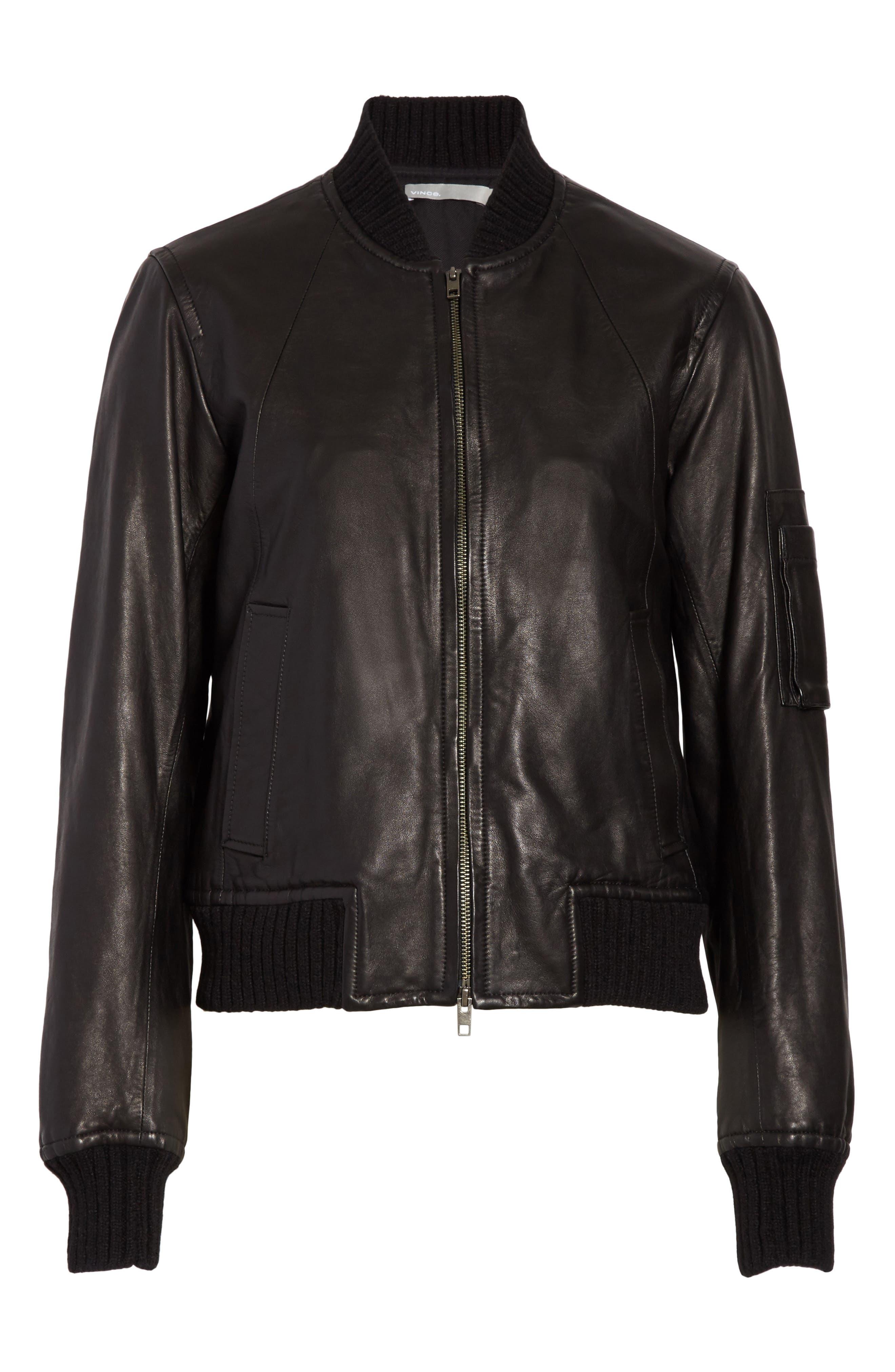 Alternate Image 7  - Vince Leather Bomber Jacket