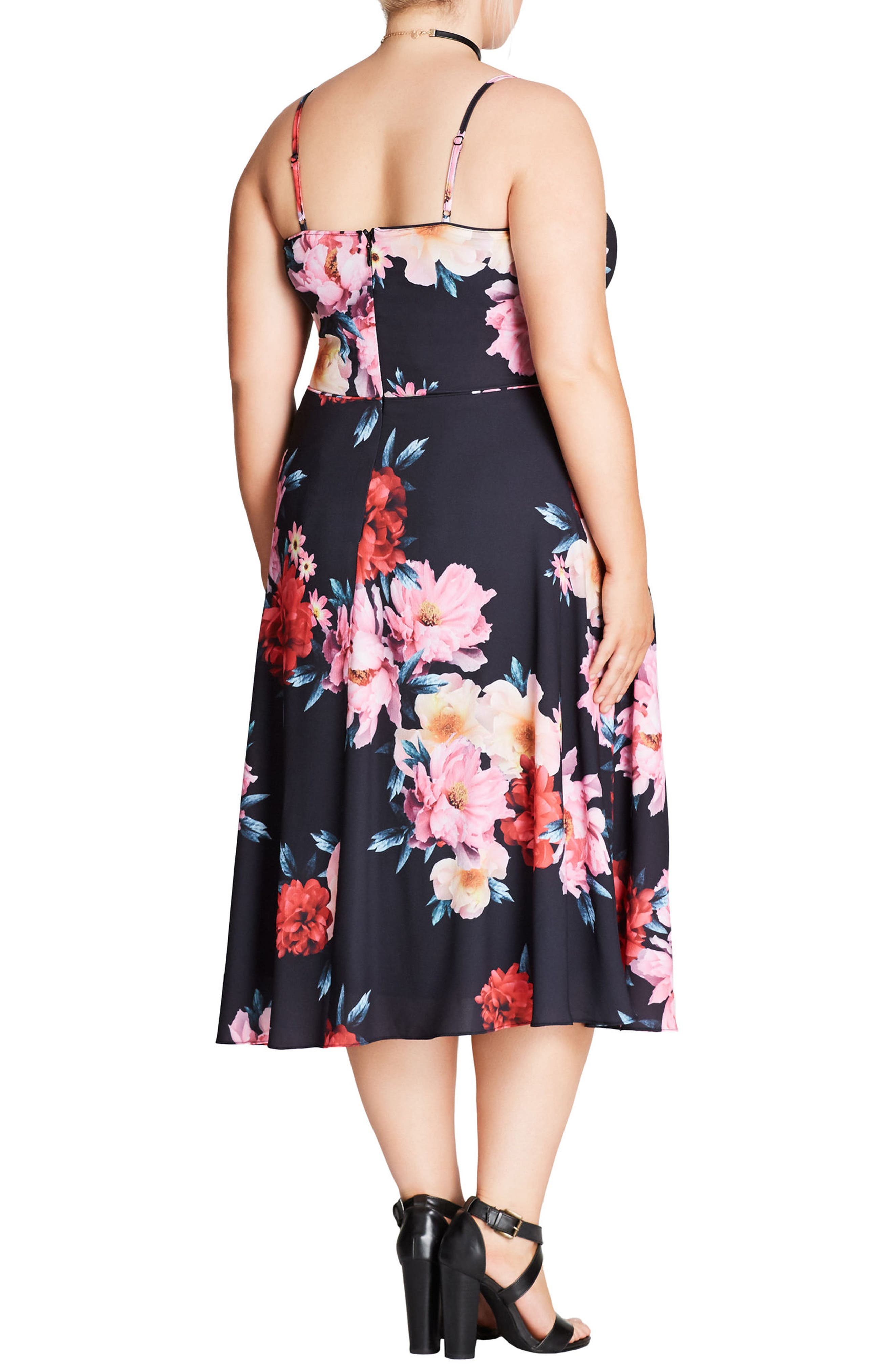 Alternate Image 2  - City Chic Summer Fling Floral Print Midi Dress (Plus Size)