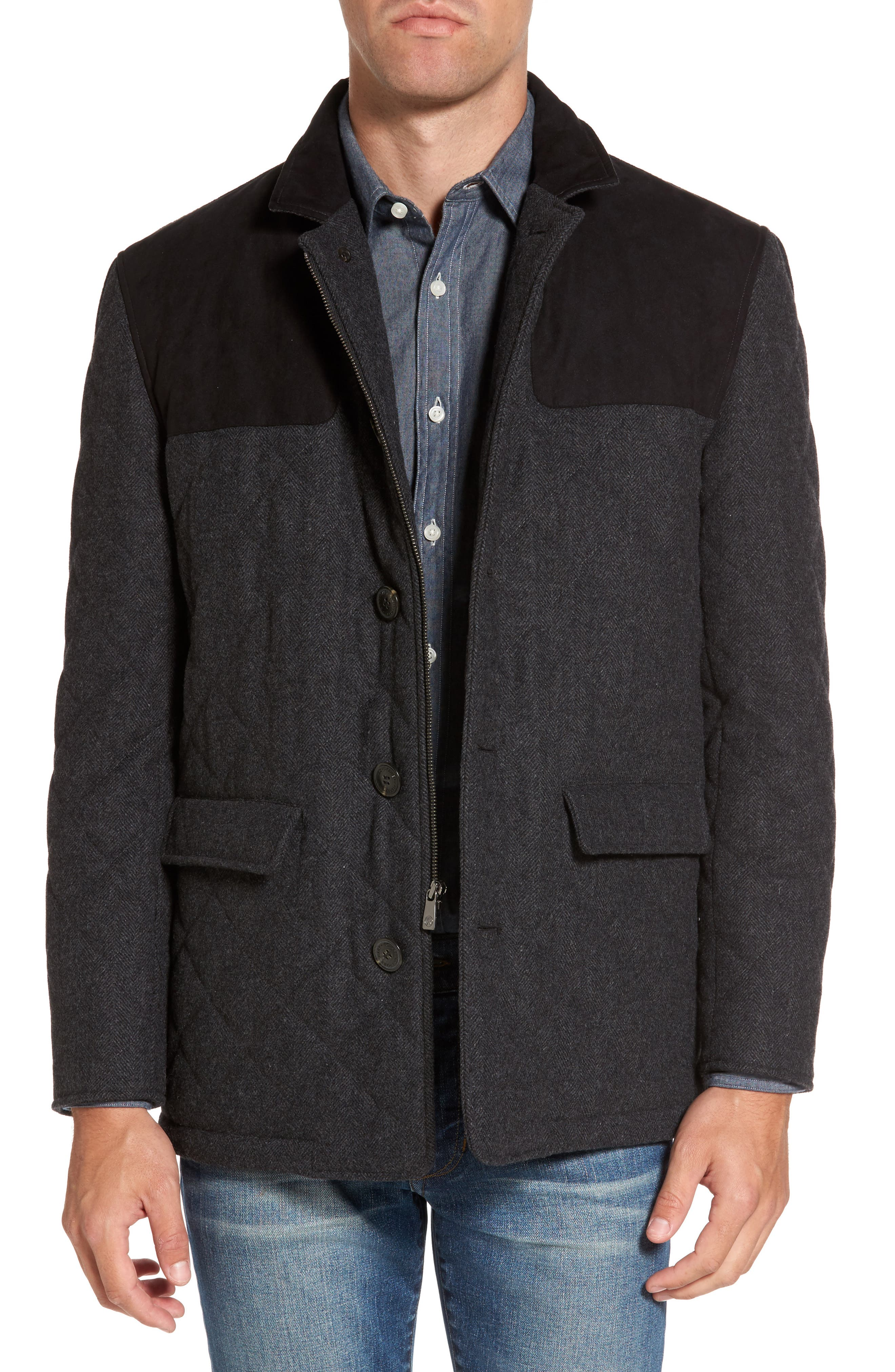 'Shooter' Wool Blend Quilted Jacket,                             Main thumbnail 1, color,                             Charcoal