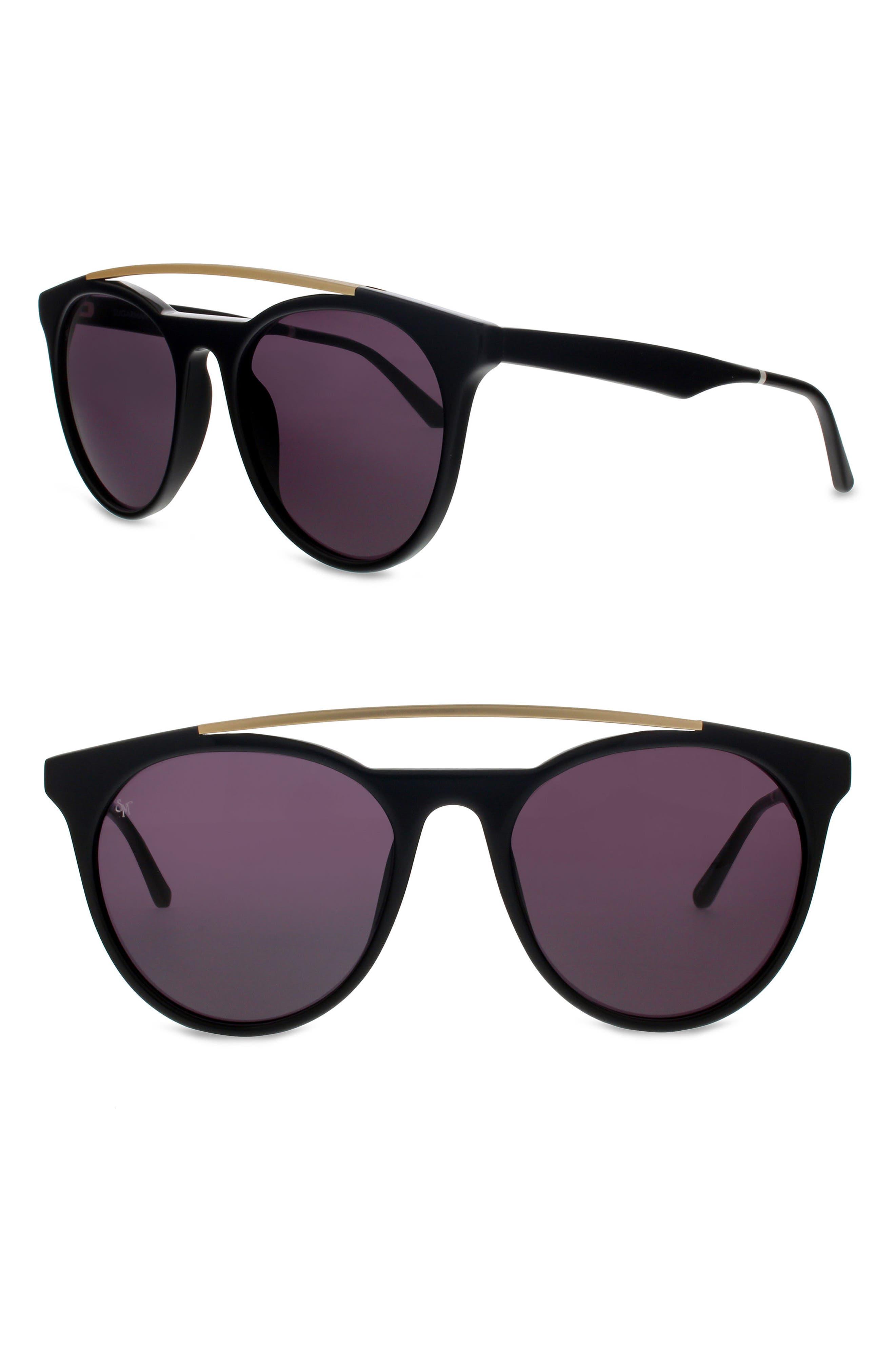 Sugarman 52mm Round Sunglasses,                         Main,                         color, Black/ Matte Gold