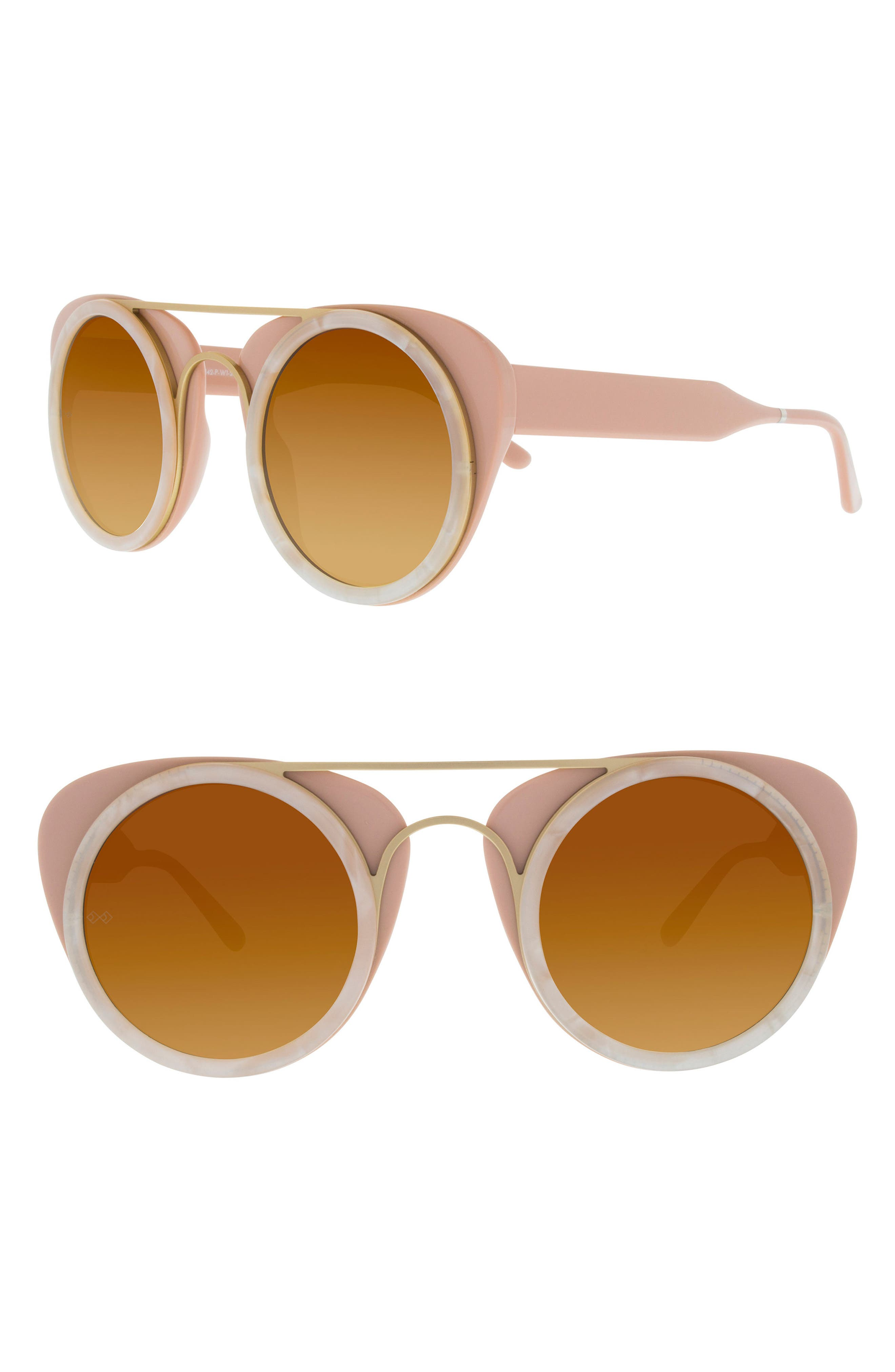 Soda Pop 3 47mm Round Sunglasses,                         Main,                         color, Pink/ White Scales/ Matte Gold
