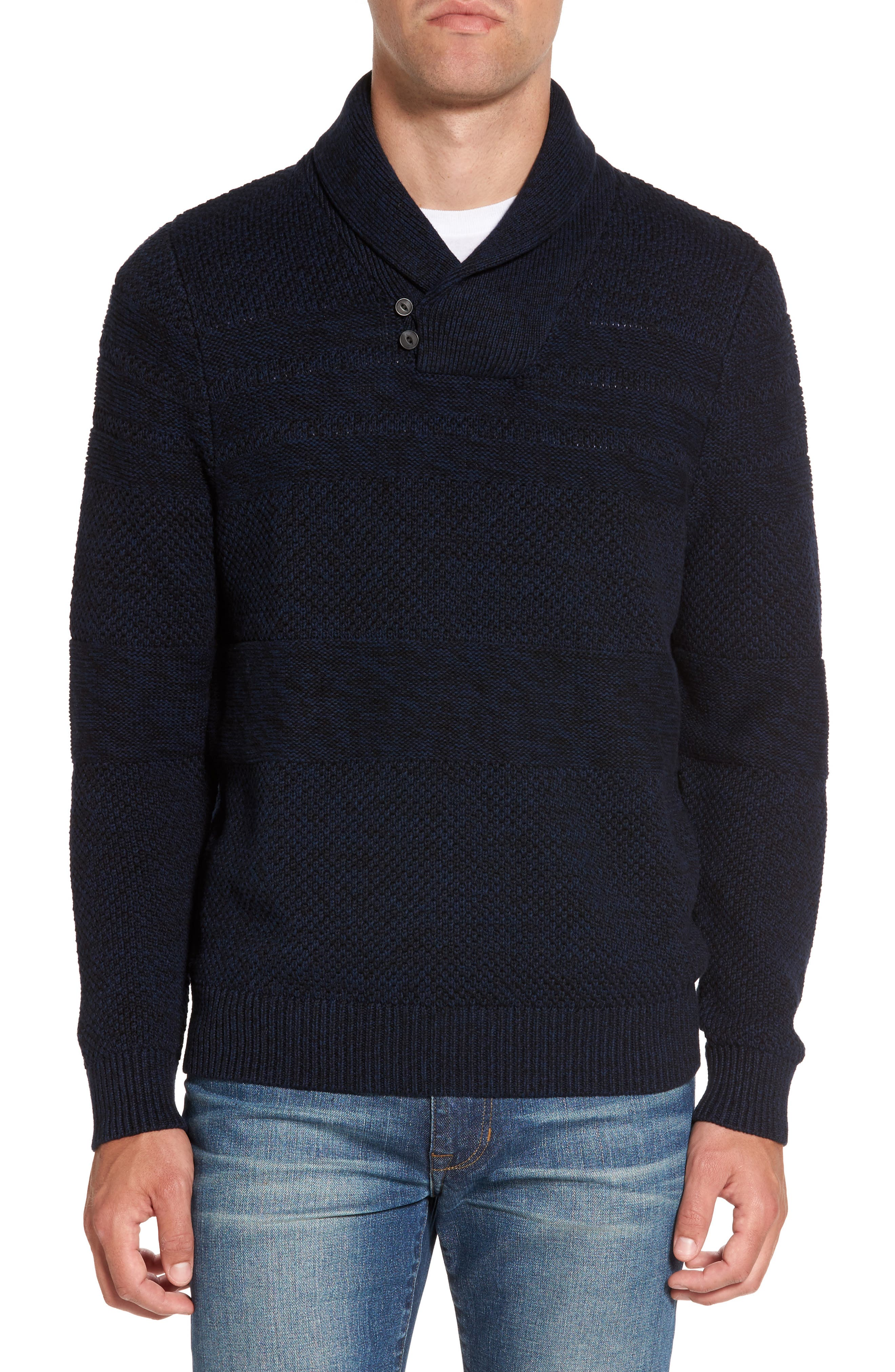 Nordstrom Men's Shop Shawl Collar Fisherman's Sweater