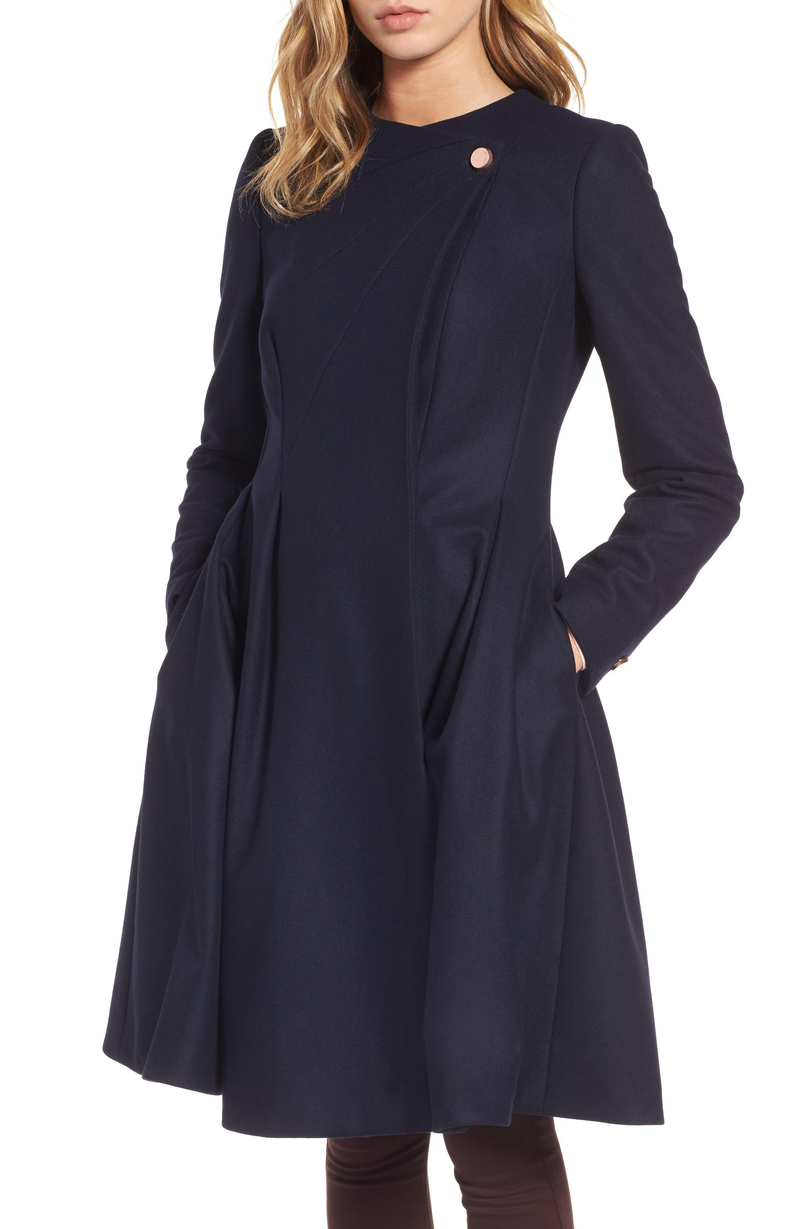 Wool Blend Asymmetrical Skirted Coat,                         Main,                         color, Navy