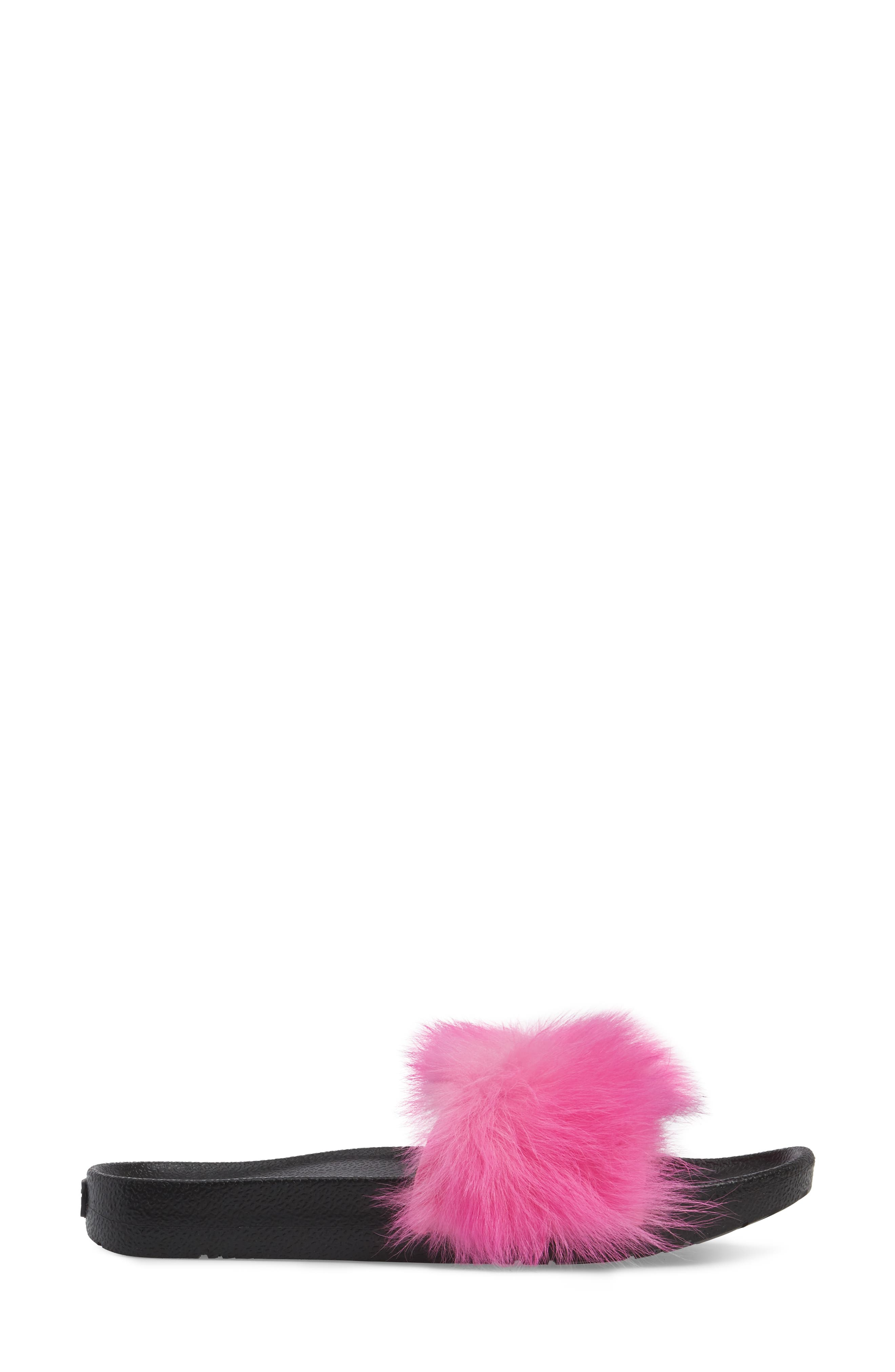 Royale Genuine Shearling Slide Sandal,                             Alternate thumbnail 3, color,                             Neon Pink