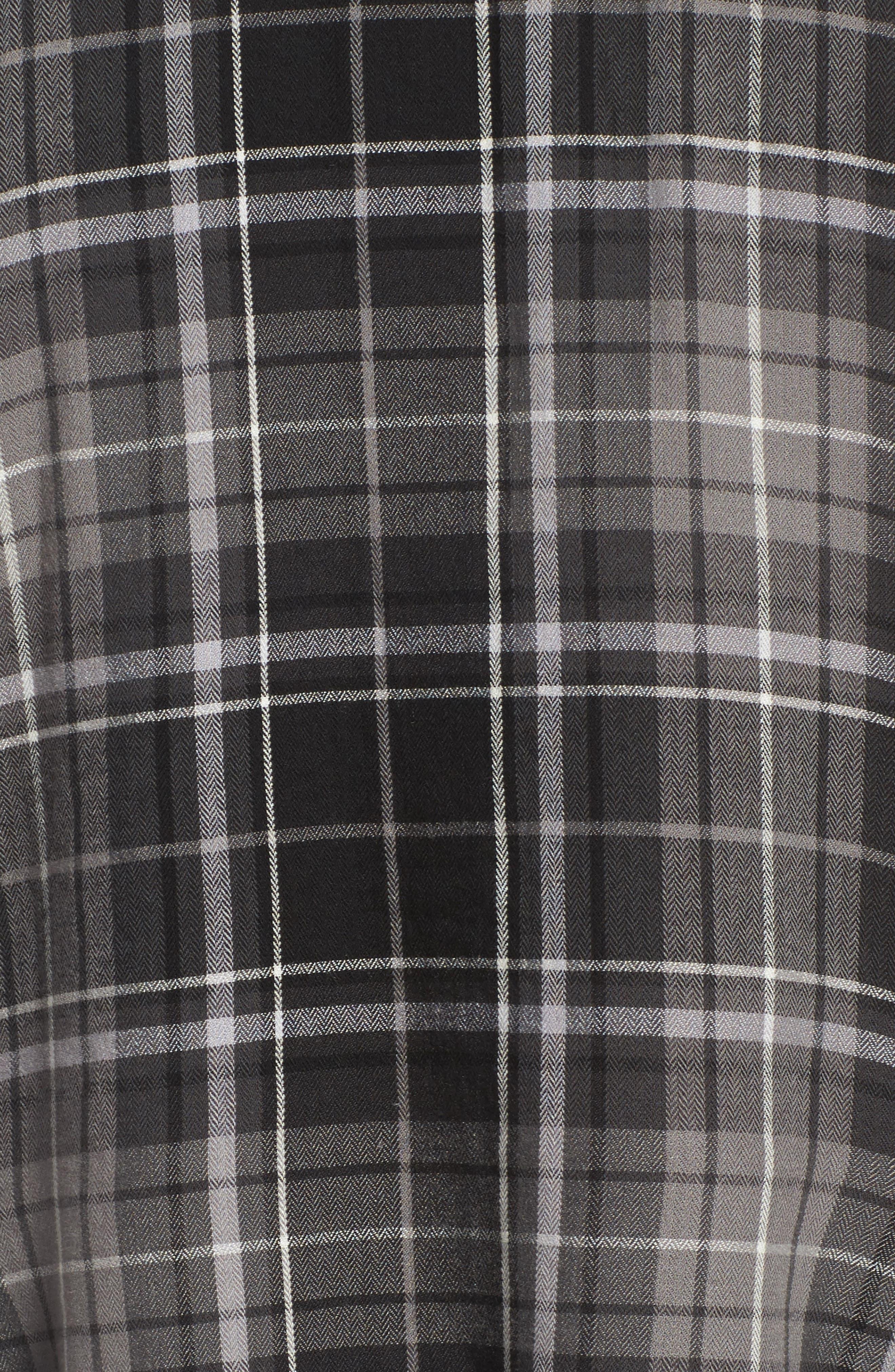 Plaid Godet Detail Shirt,                             Alternate thumbnail 5, color,                             Black Evie Plaid
