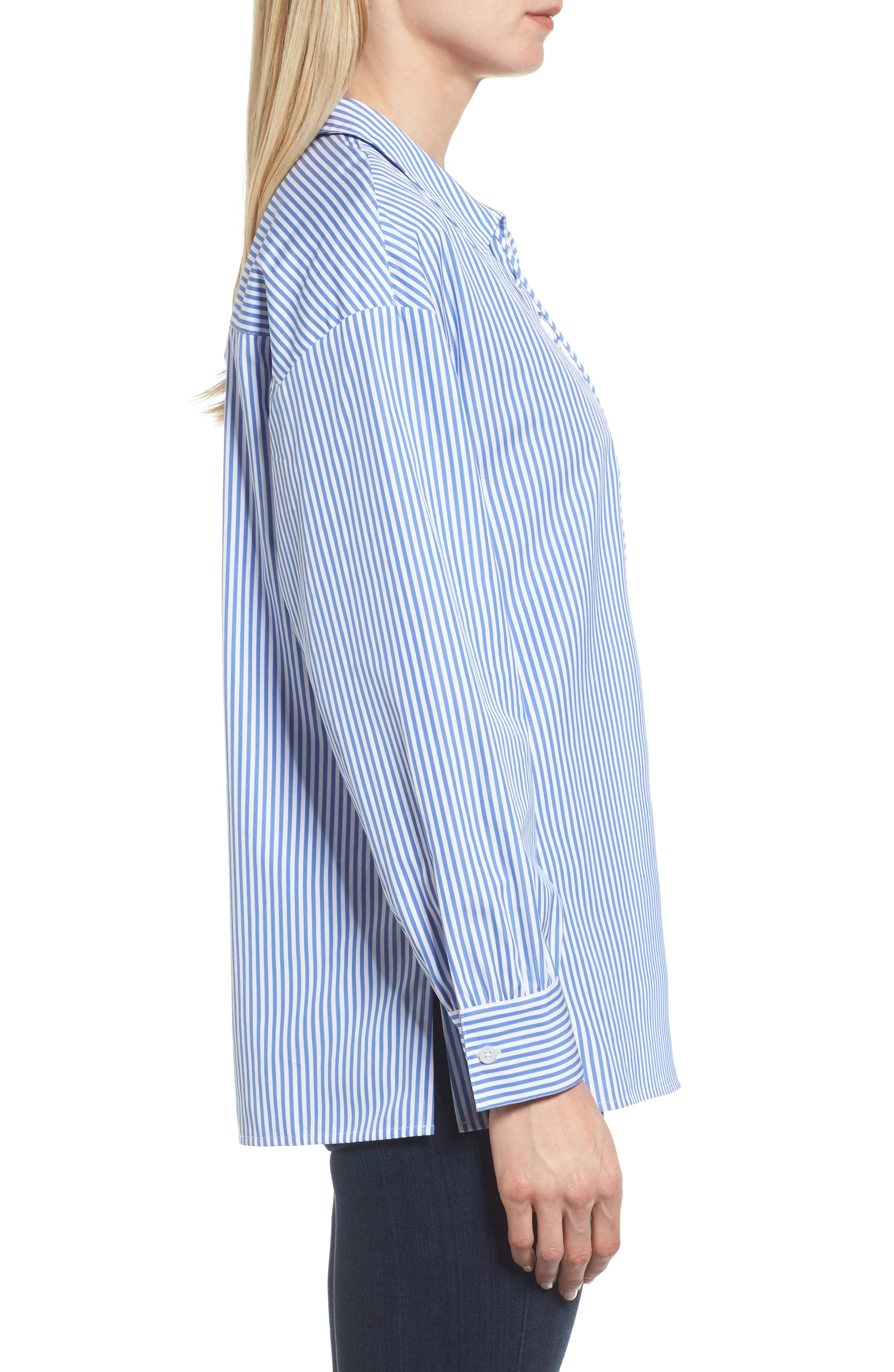Lace-Up Stripe Shirt,                             Alternate thumbnail 4, color,                             Blue/ White Stripe