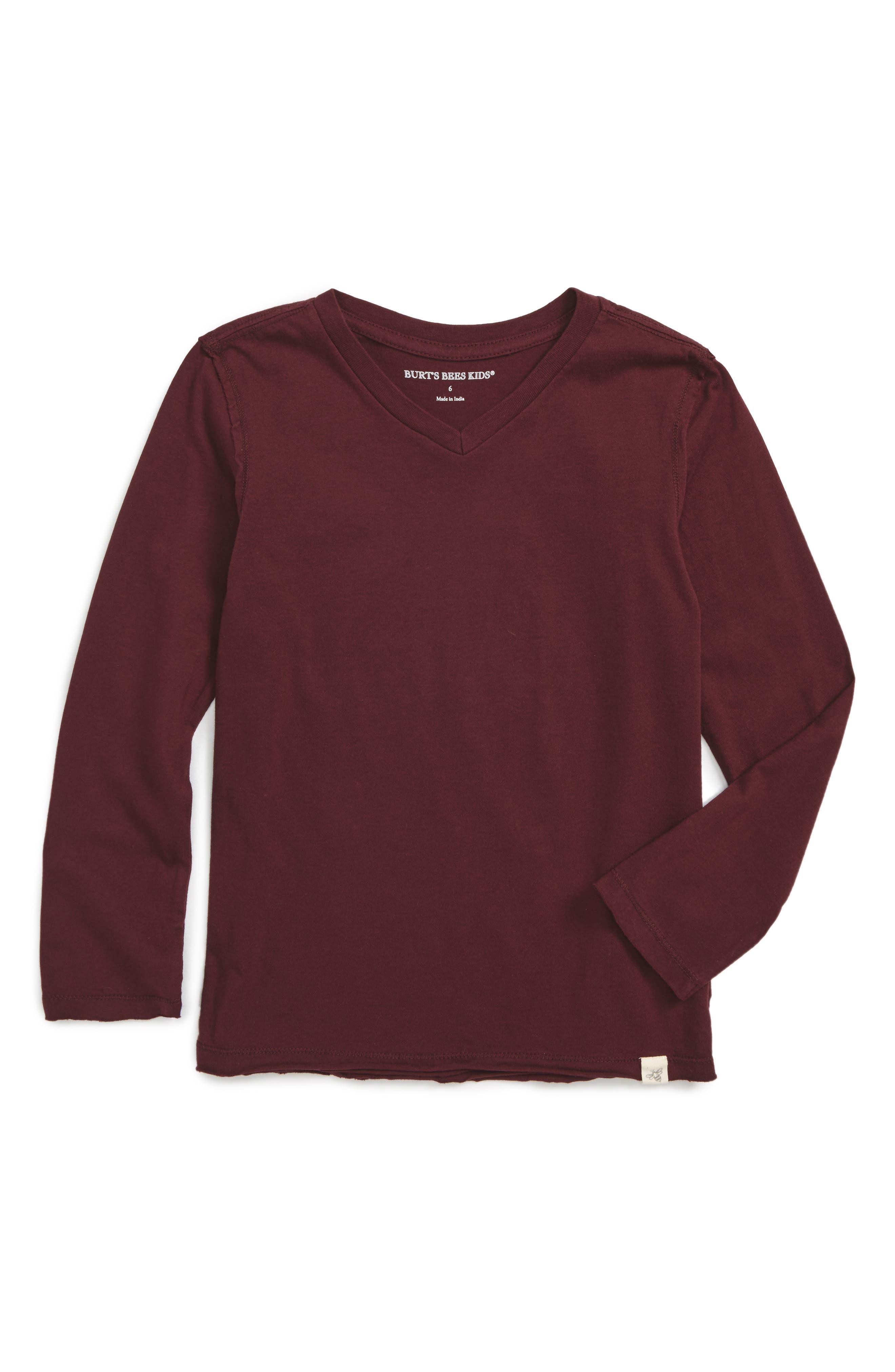 V-Neck Organic Cotton T-Shirt,                         Main,                         color, Deep Autumn
