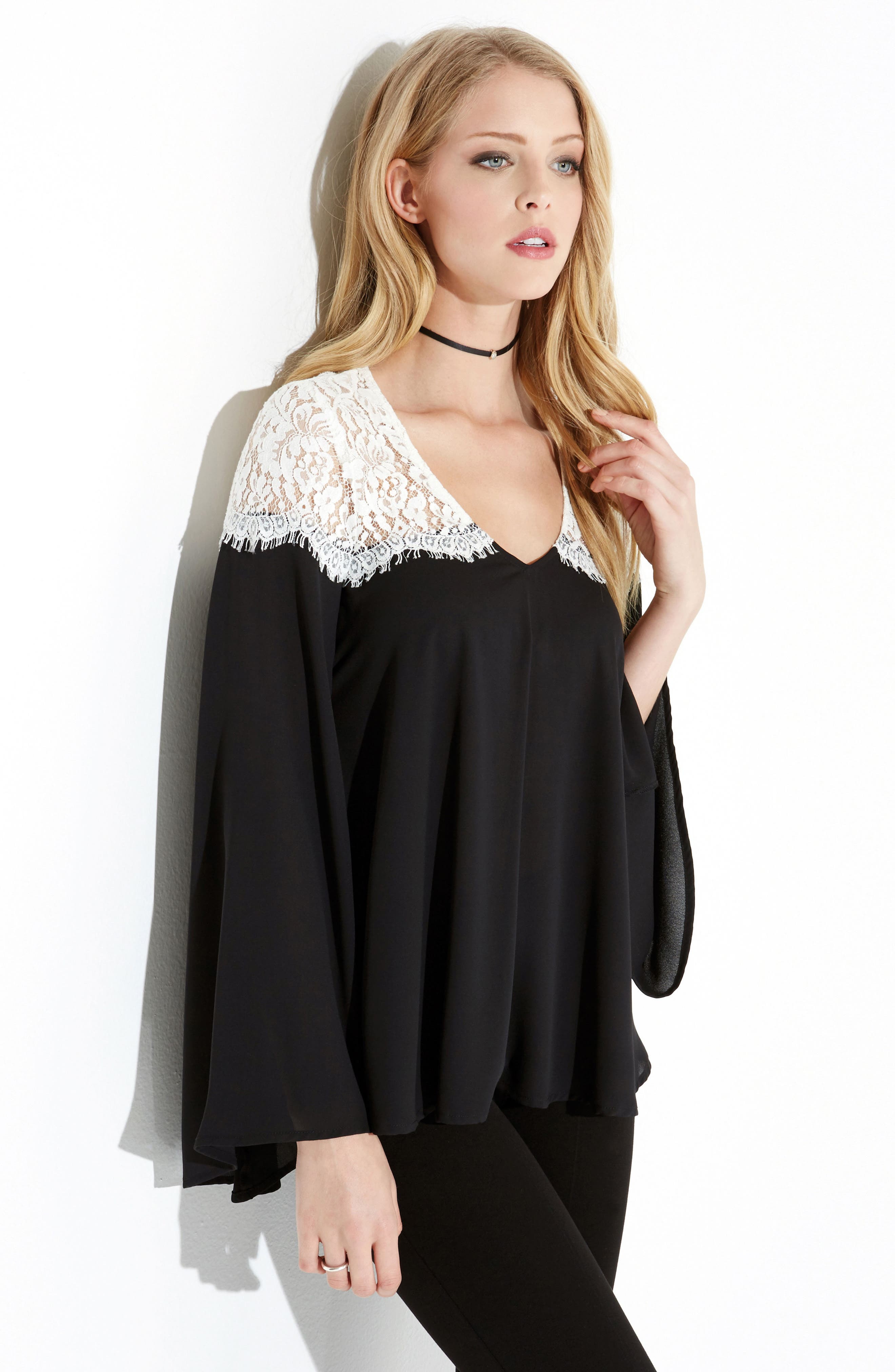Contrast Lace Bell Sleeve Top,                             Alternate thumbnail 2, color,                             Black/ Off White