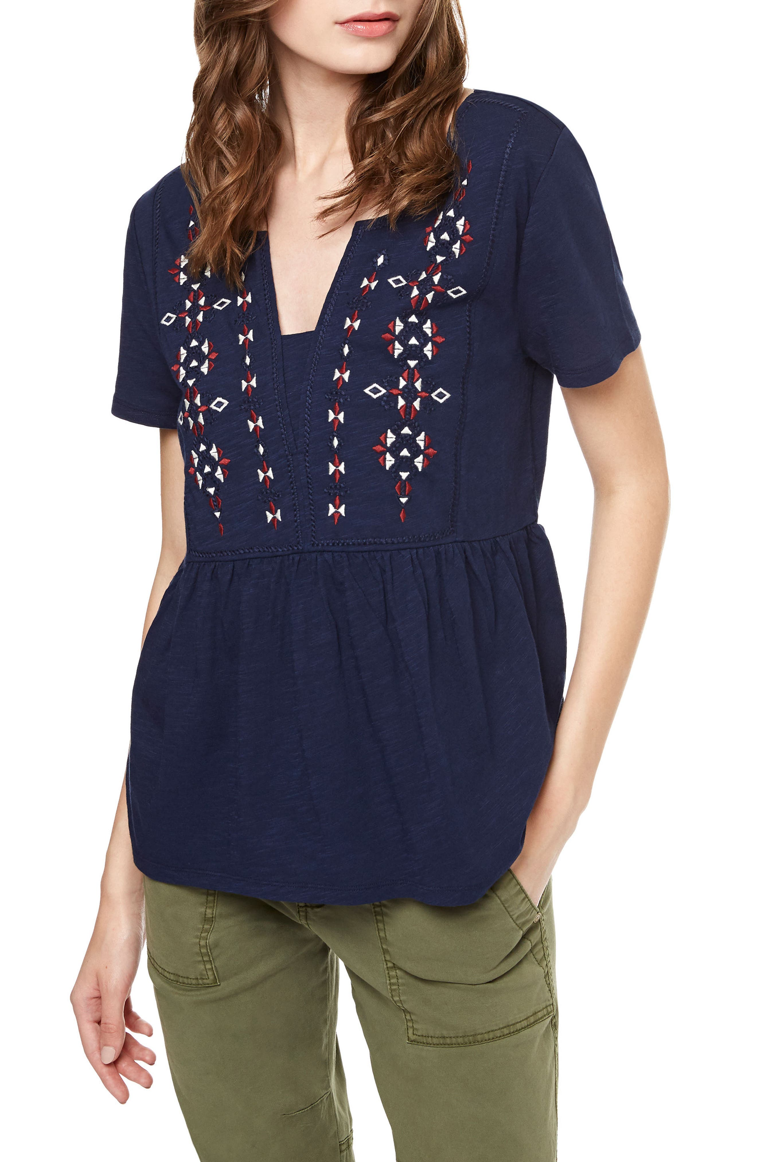 Sanctuary Carlisle Embroidered Babydoll Top
