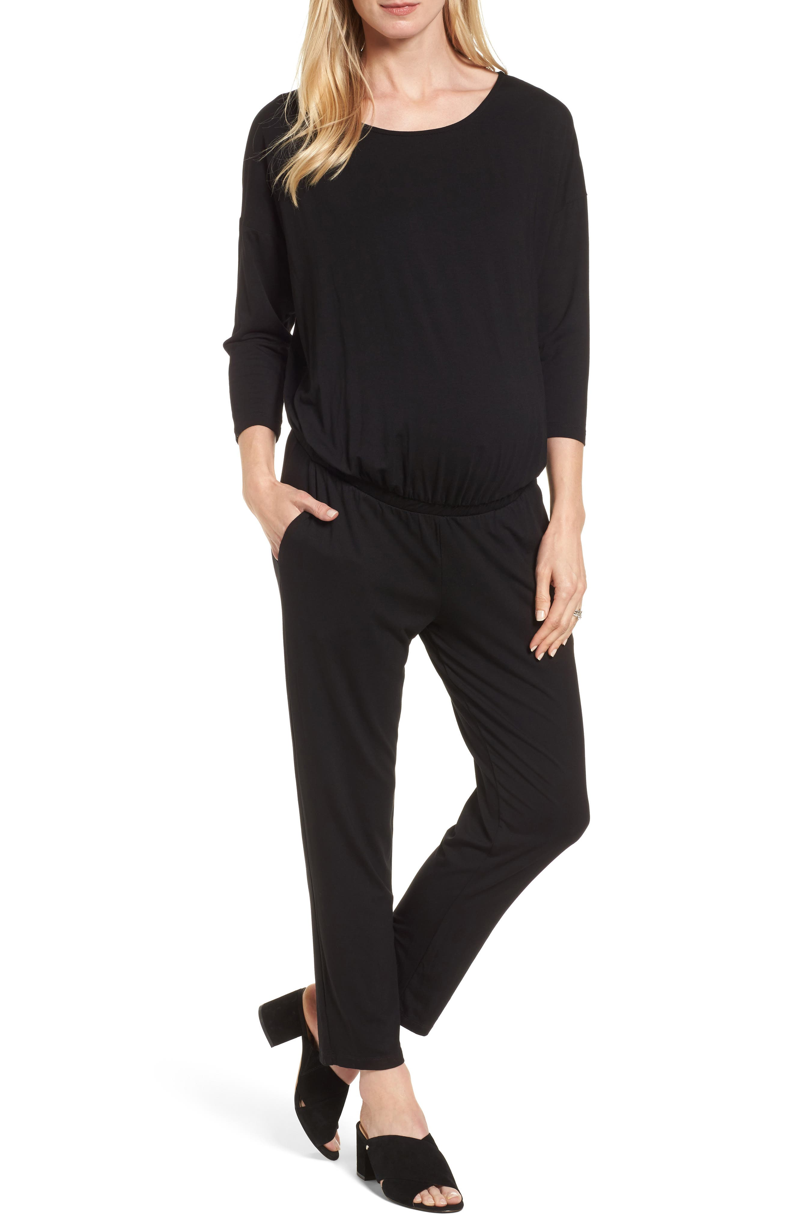 Chloe Maternity Jumpsuit,                         Main,                         color, Caviar Black