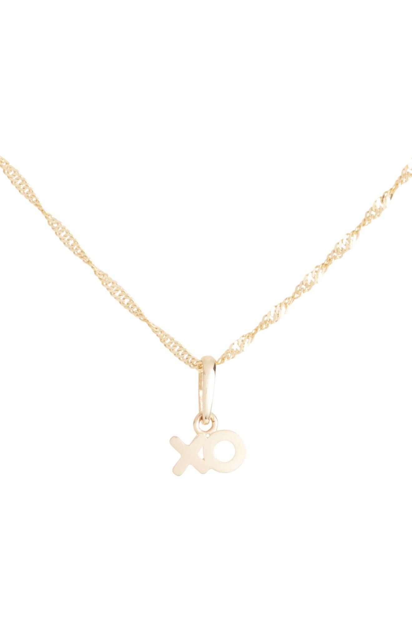 XO Charm Short Pendant Necklace,                             Main thumbnail 1, color,                             Yellow Gold