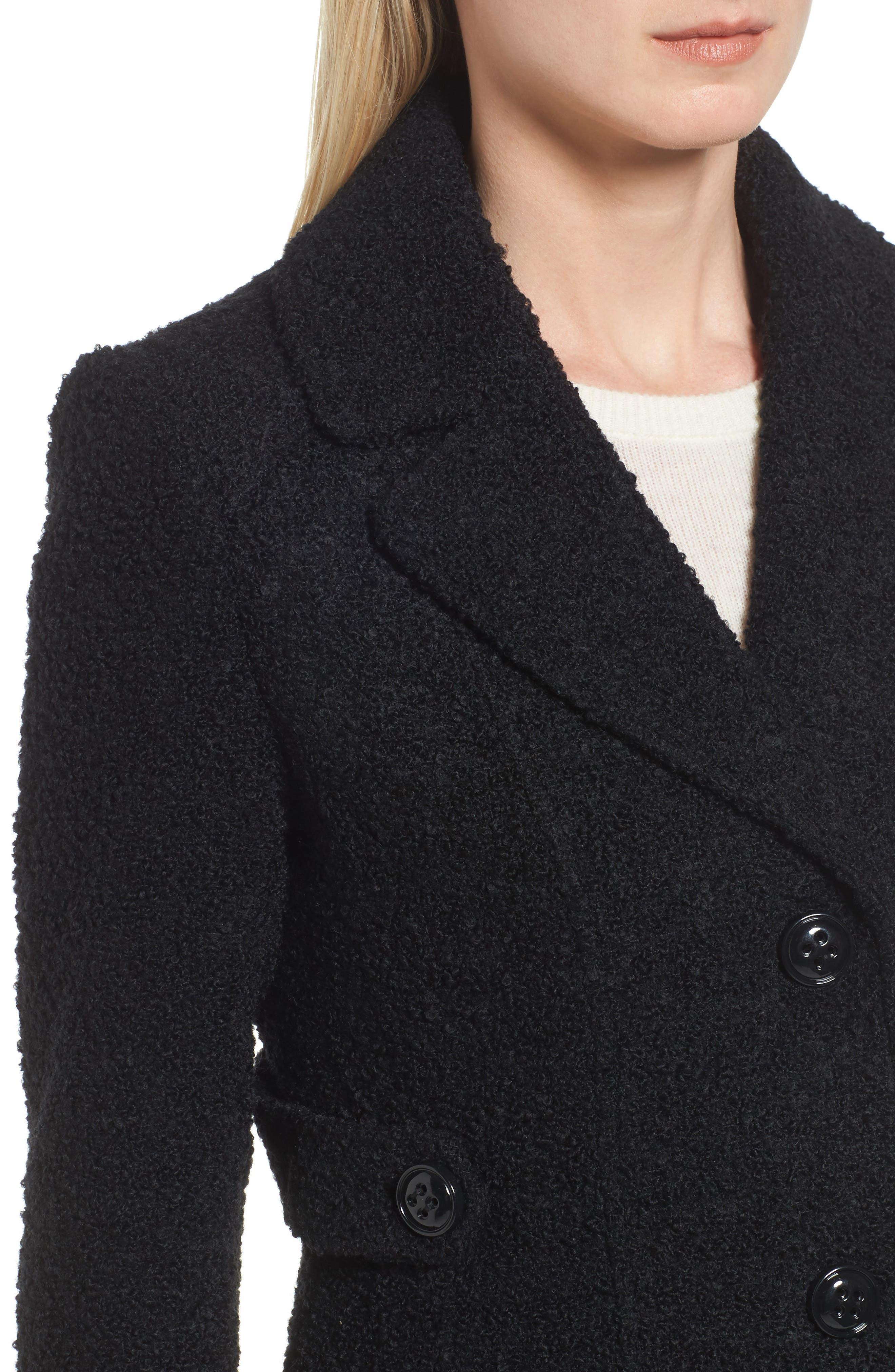 Bouclé Coat,                             Alternate thumbnail 4, color,                             Black