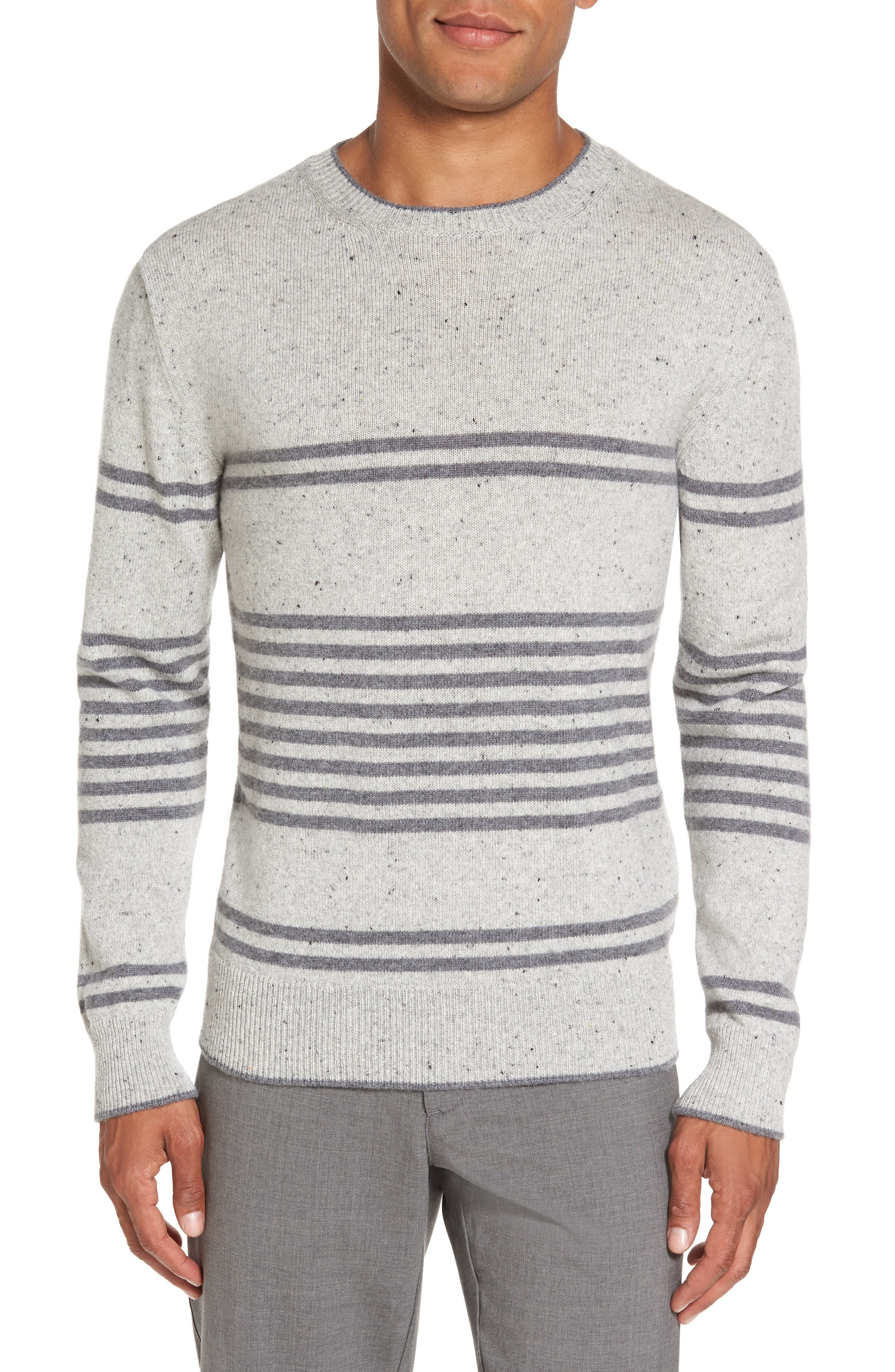 Donegal Stripe Cashmere Sweater,                         Main,                         color, Grey/ Grey
