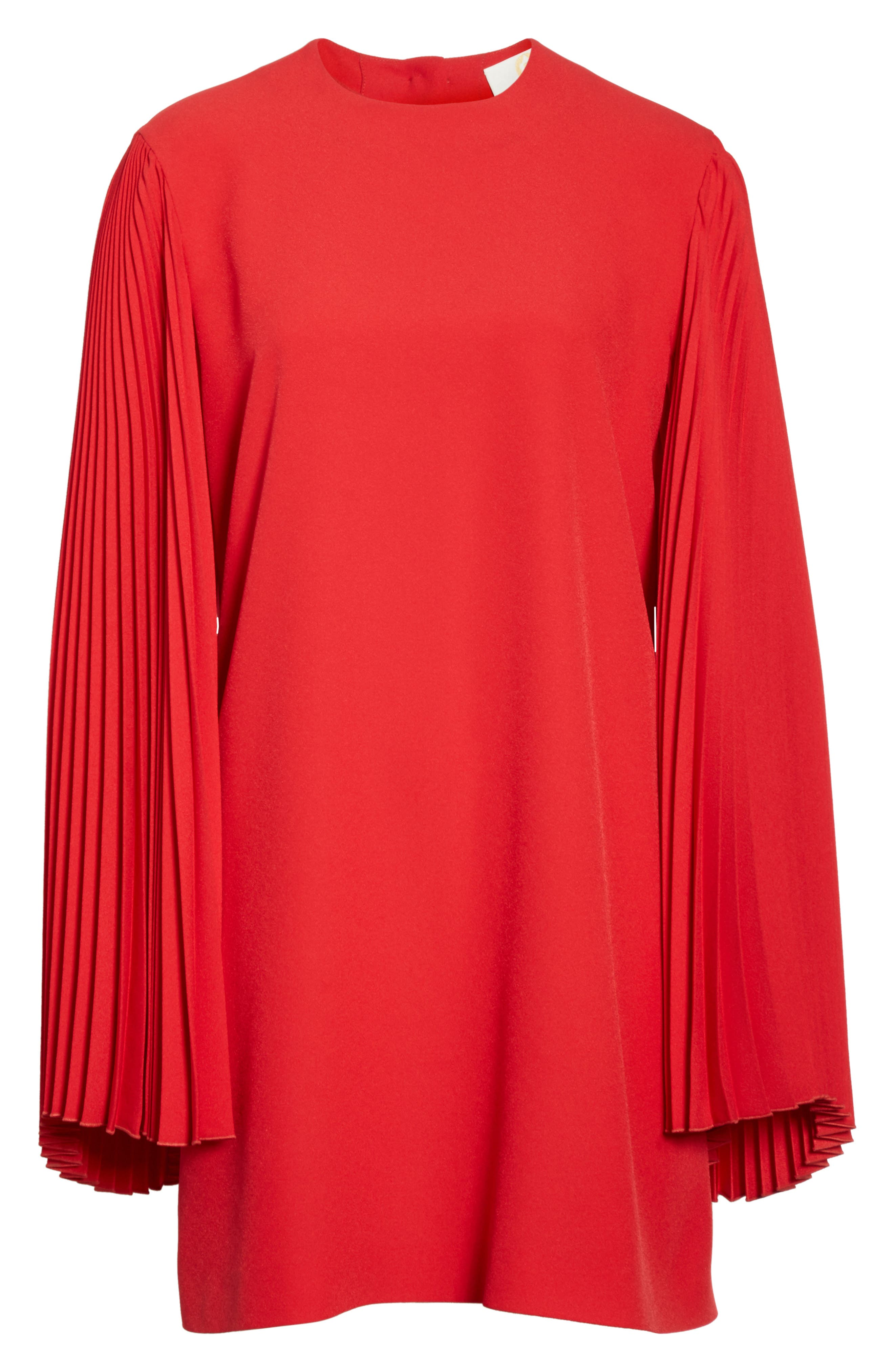 Pleated Sleeve Crepe Cady Dress,                             Alternate thumbnail 7, color,                             Red