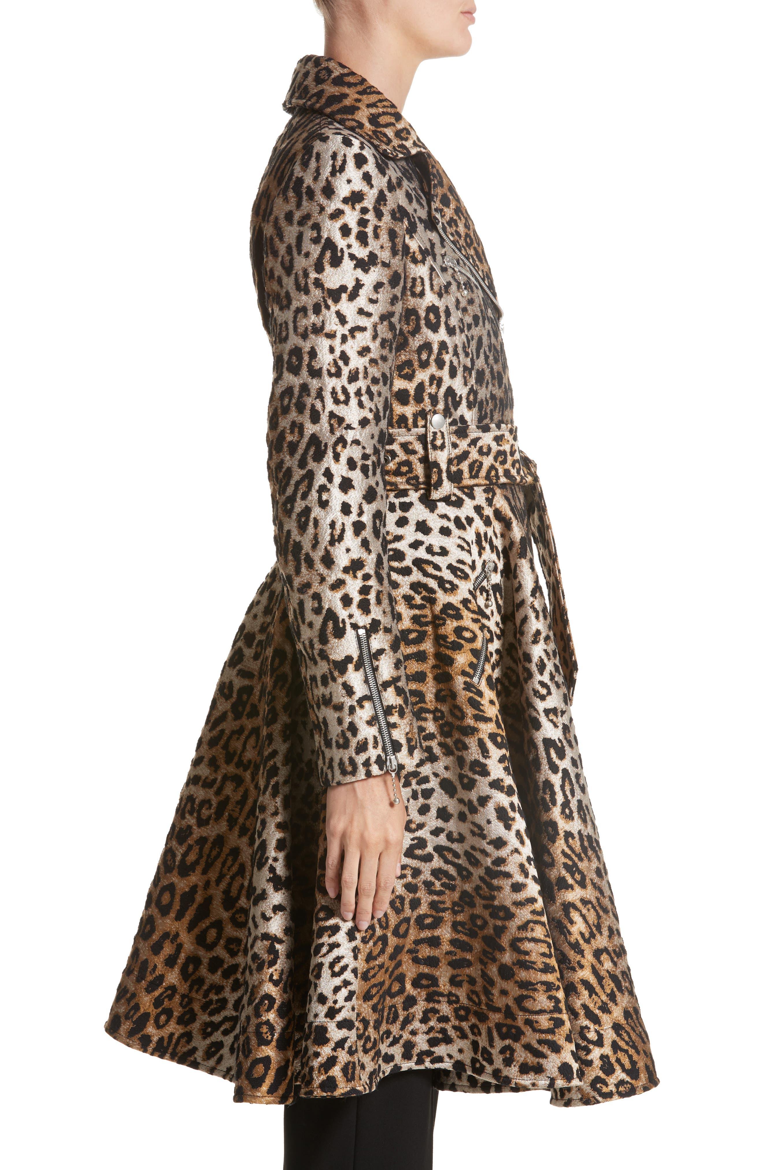 Leopard Jacquard Trench Coat,                             Alternate thumbnail 4, color,                             Leopard