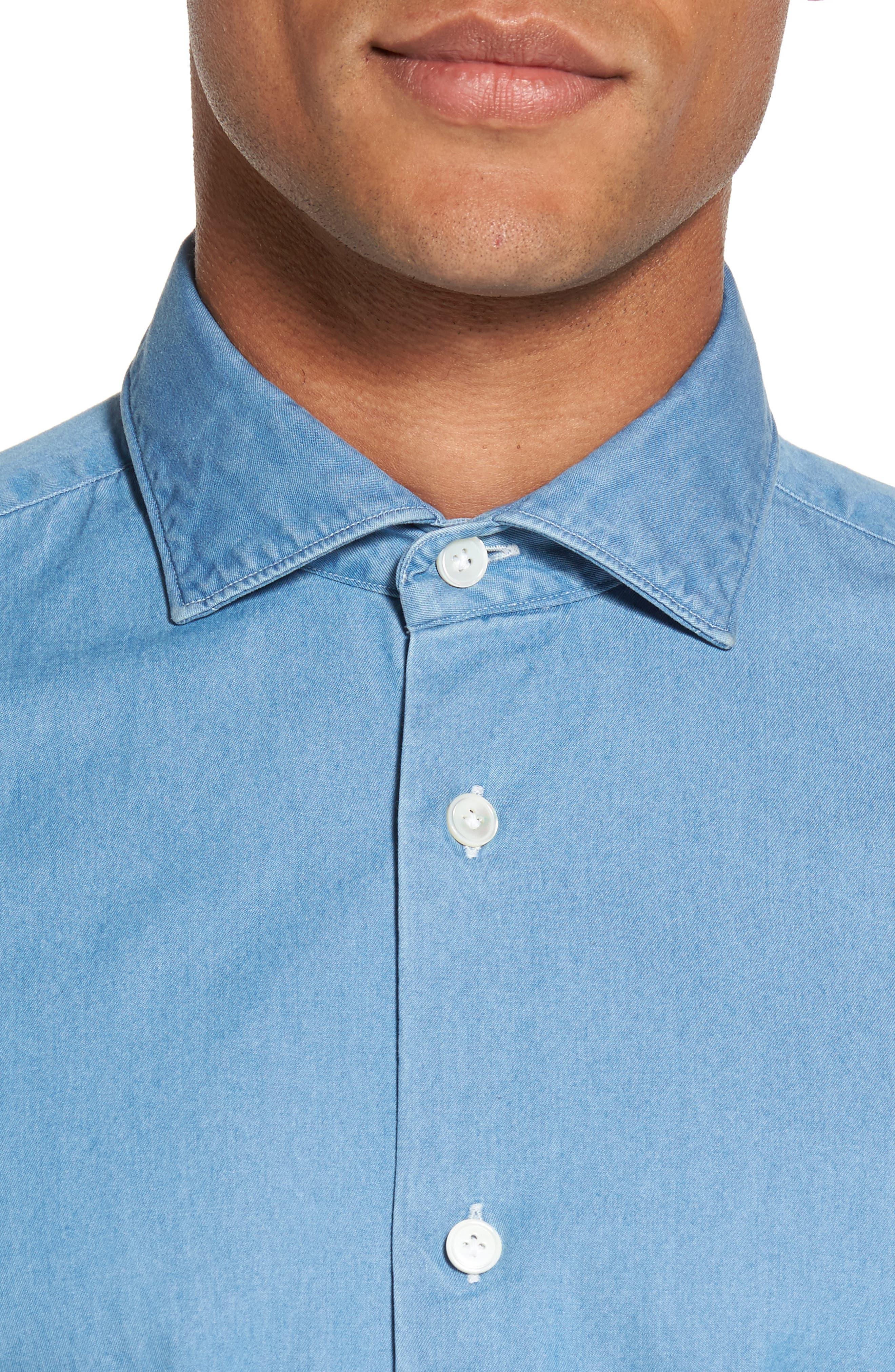 Denim Sport Shirt,                             Alternate thumbnail 4, color,                             Denim