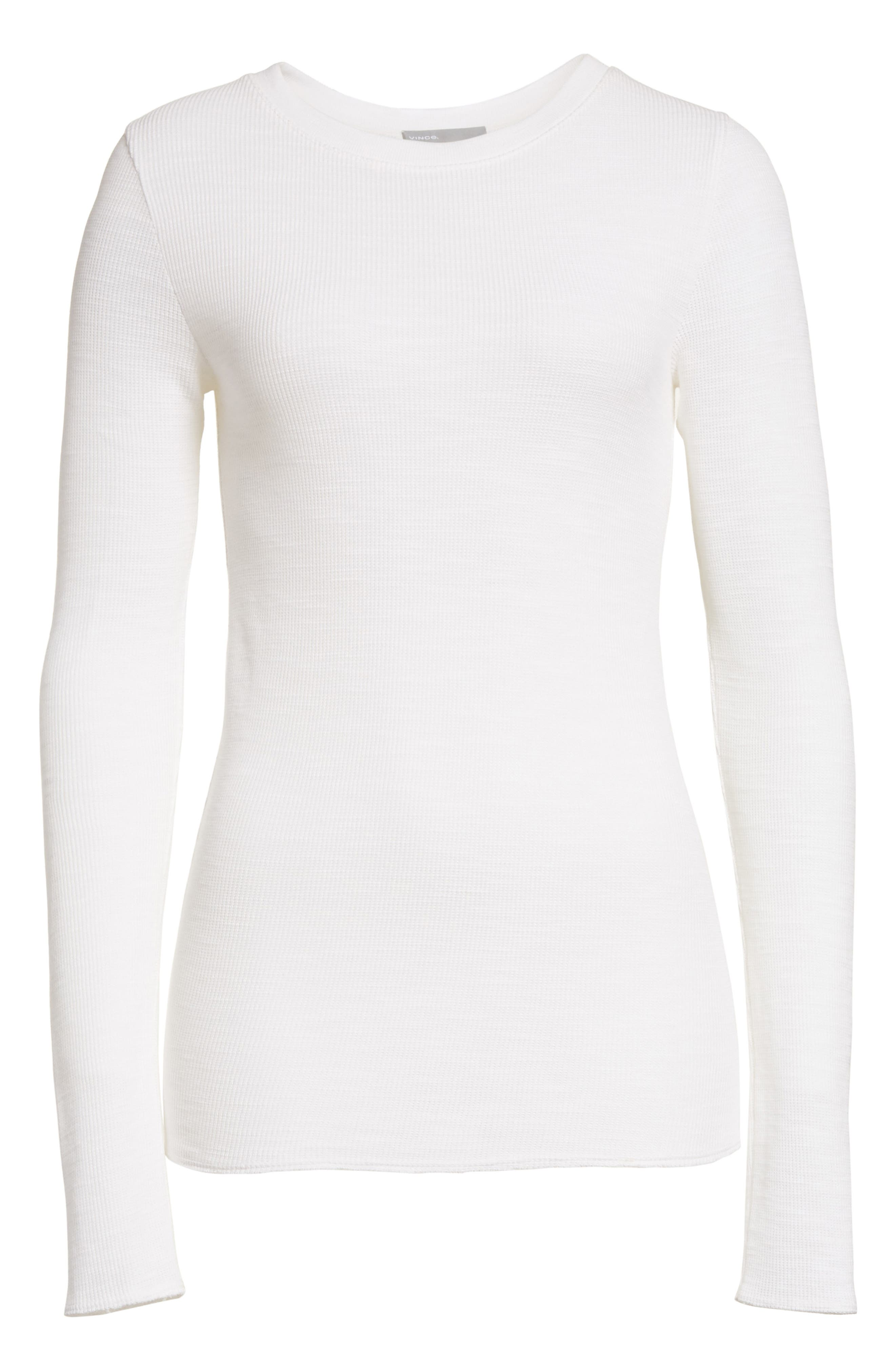 Long Sleeve Thermal Sweater,                             Alternate thumbnail 6, color,                             Off White
