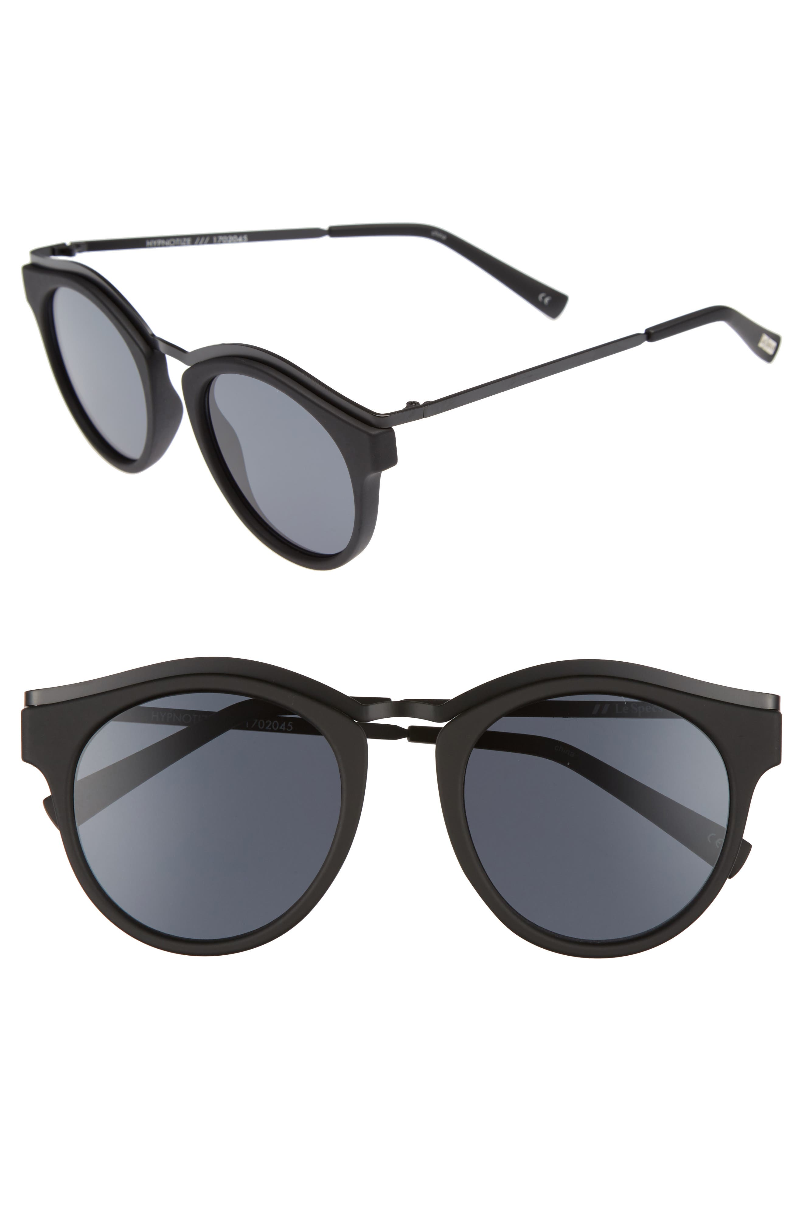 Hypnotize 50mm Round Sunglasses,                         Main,                         color, Black Rubber