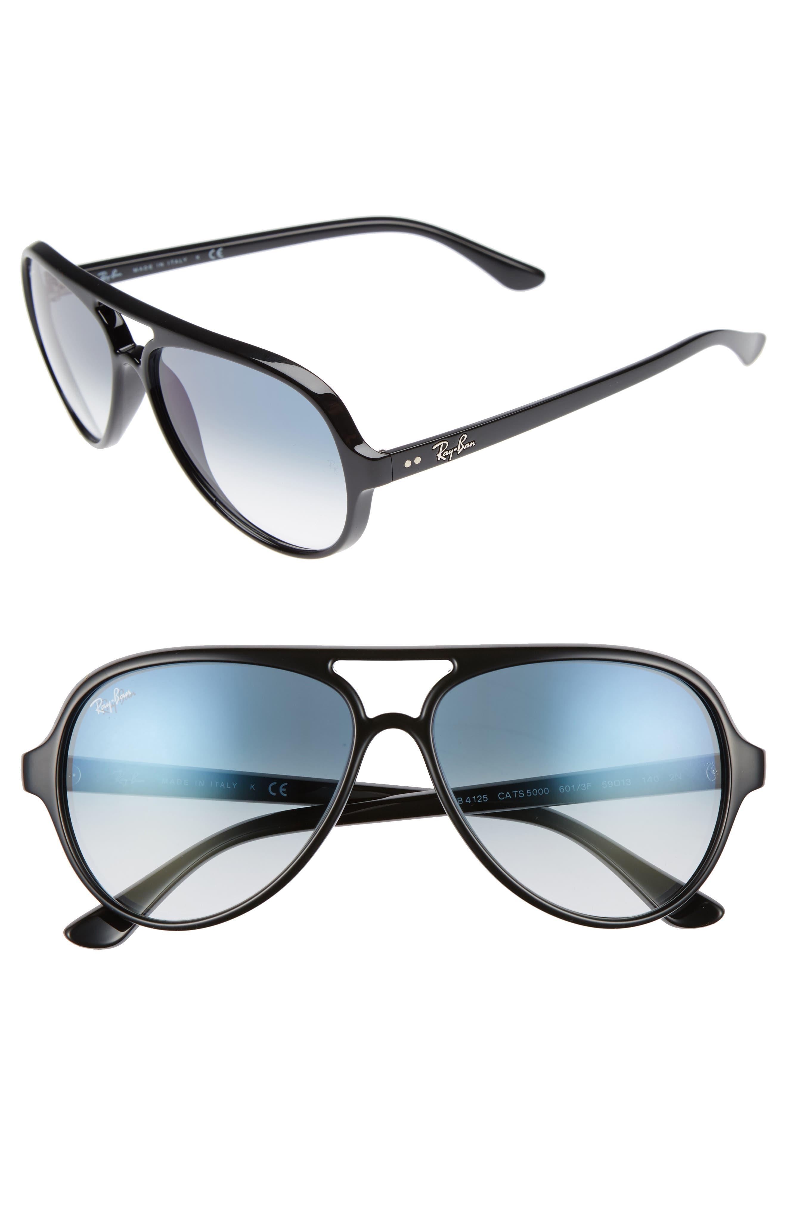 59mm Resin Aviator Sunglasses,                         Main,                         color, Black/ Azure Shadow