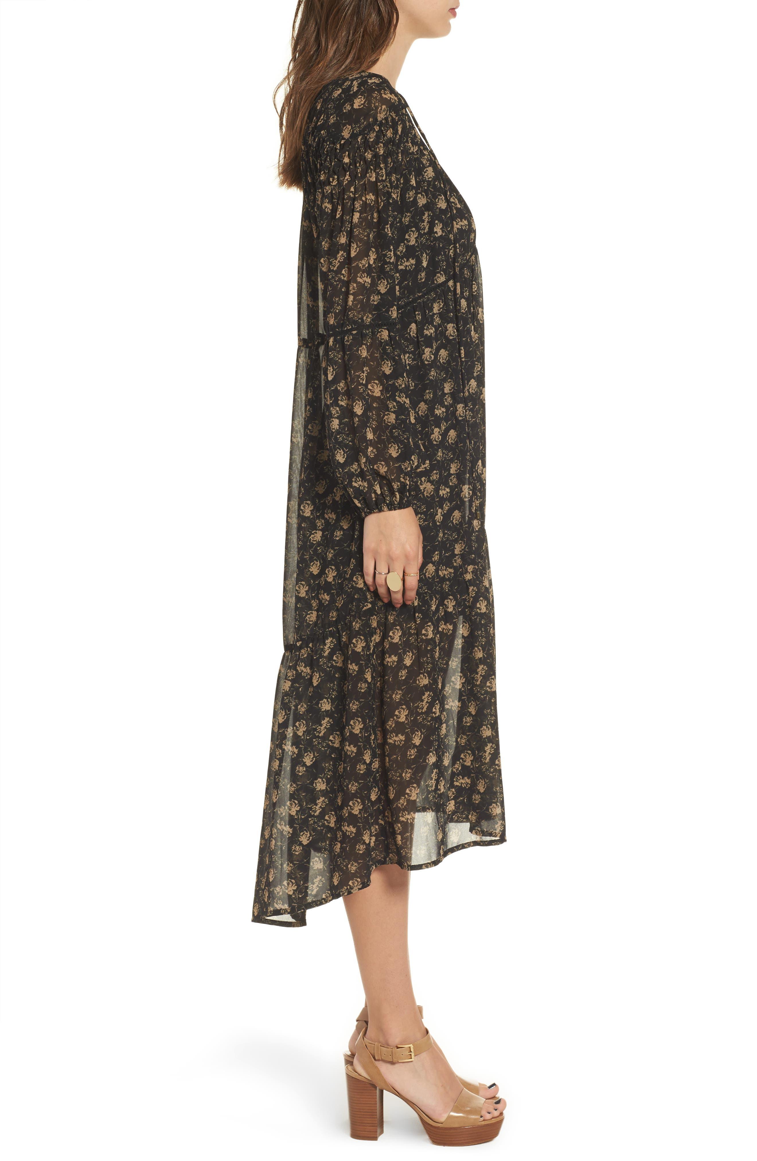Ambrosia Shift Dress,                             Alternate thumbnail 4, color,                             Black-Tan Floral